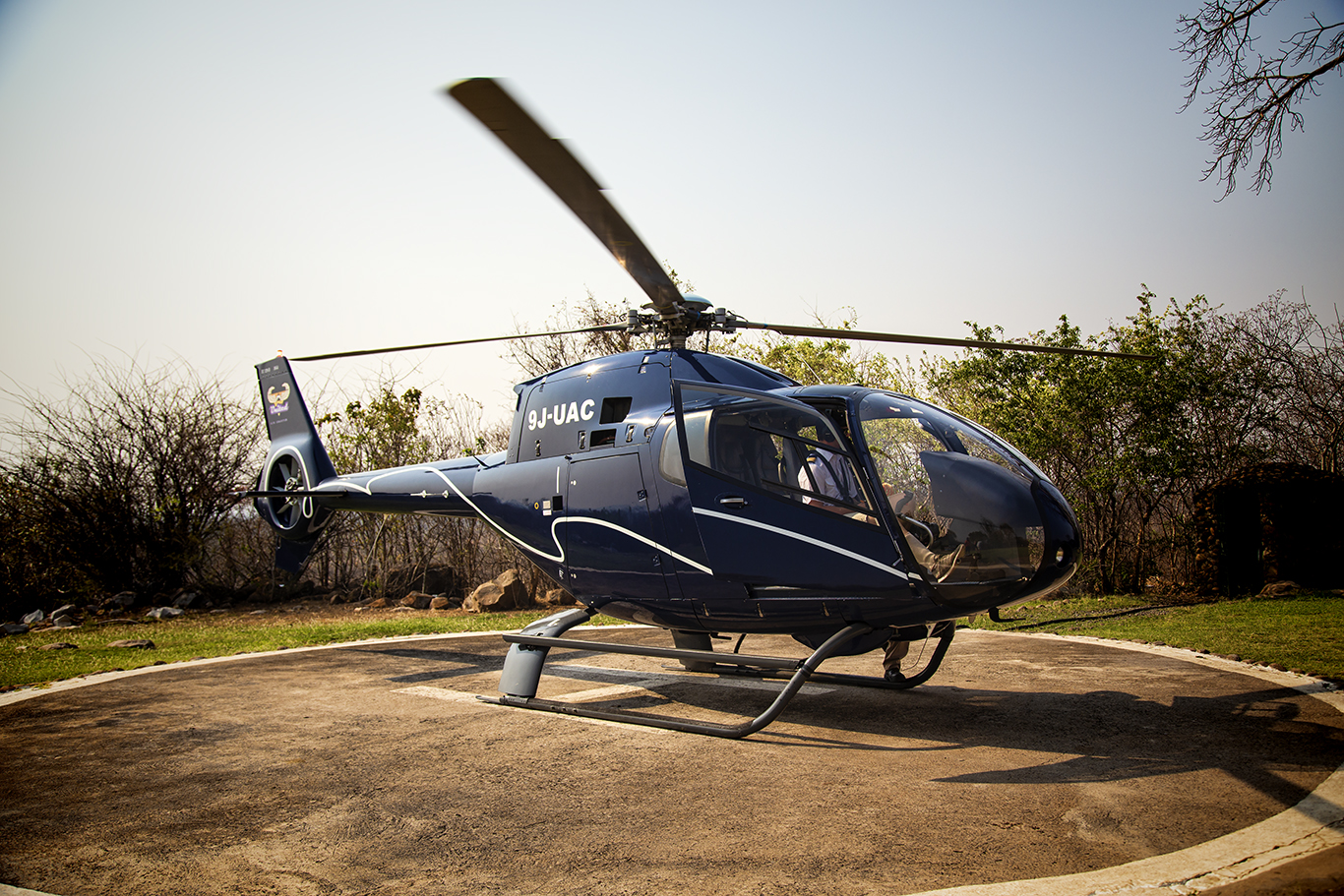 Helicopter for Aerial Views of the Zambian and Zimbabwean Sides of the Victoria Falls