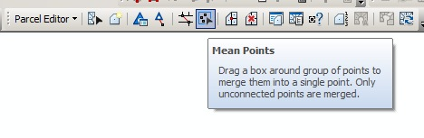 The Mean Points tool in the Parcel Editor Toolbar