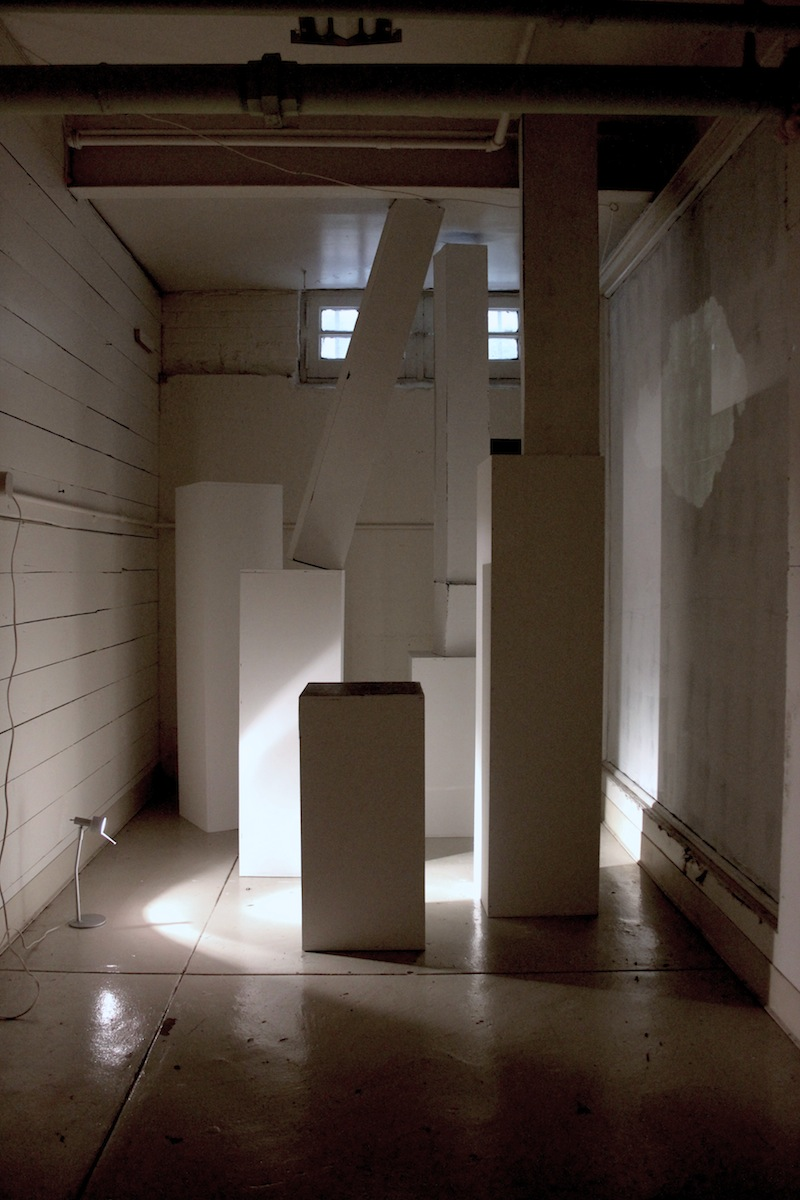 Parallel Lines,  2012, Pedestals, cardboard, canvas, paint and staples