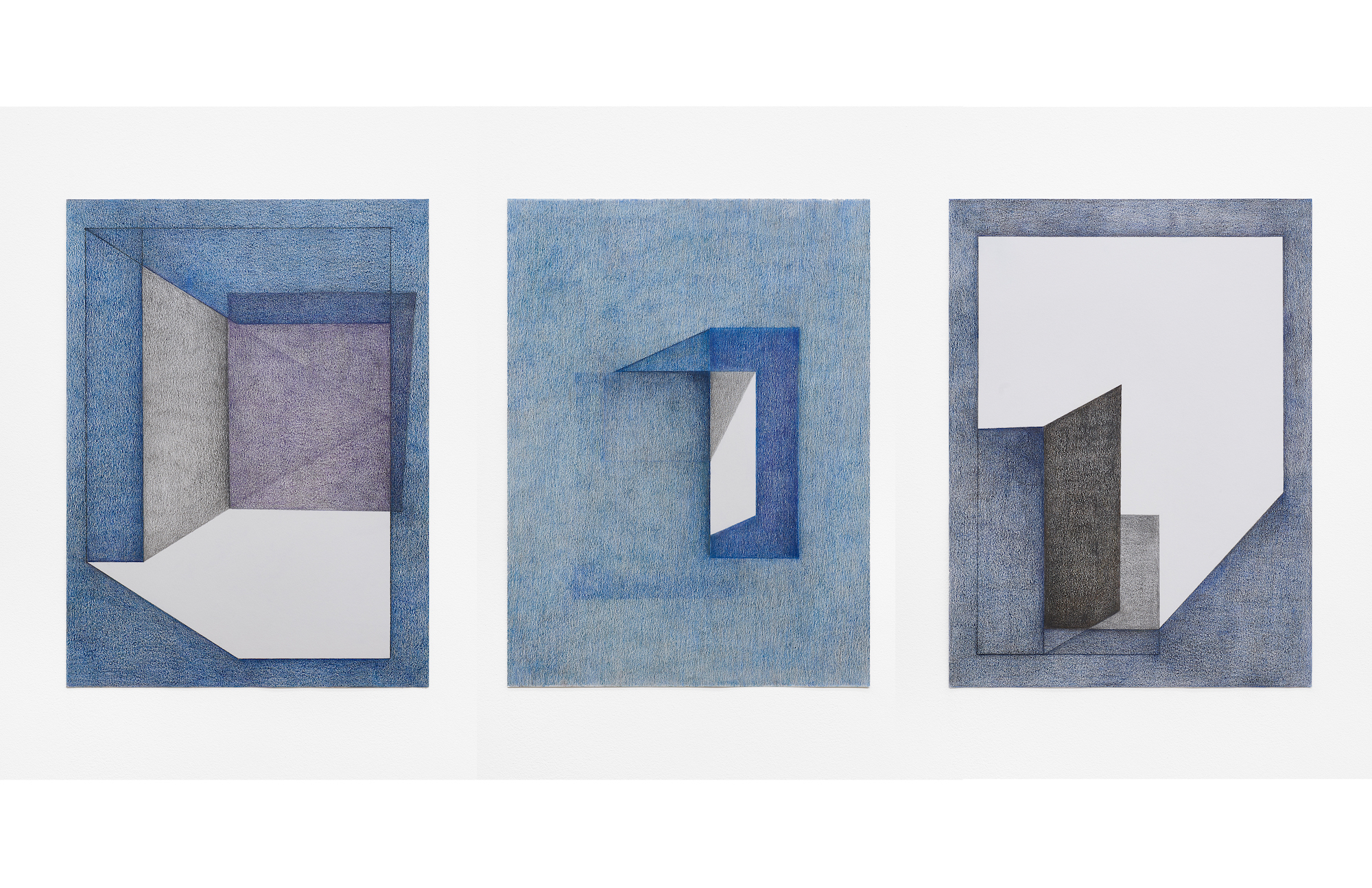 Fold, 2019  Colored-pencil on paper, each 25.5x19 inches