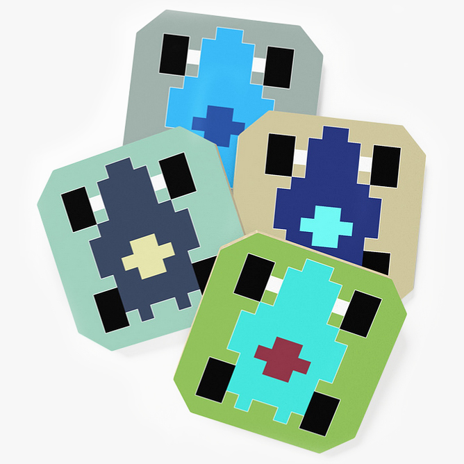 """Pixel Car [blue]"" coaster set"