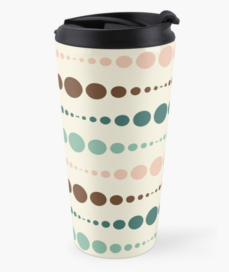 """Dots [She's very practical]"" travel mug"
