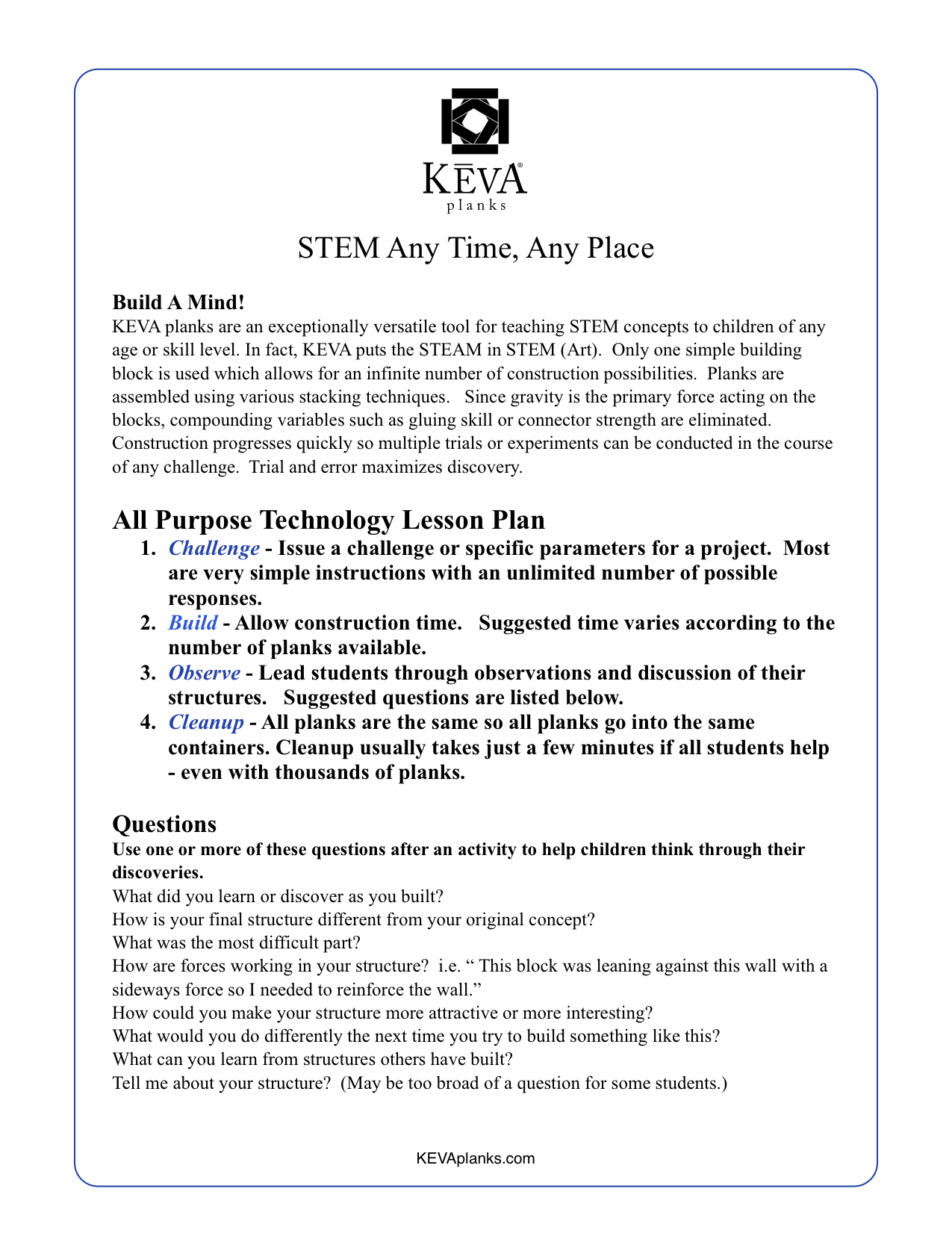 STEM Anytime Any Place - Lesson plan pdf