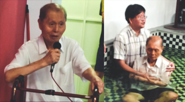 Ah Choo sharing his testimony (L), and being baptised (R)