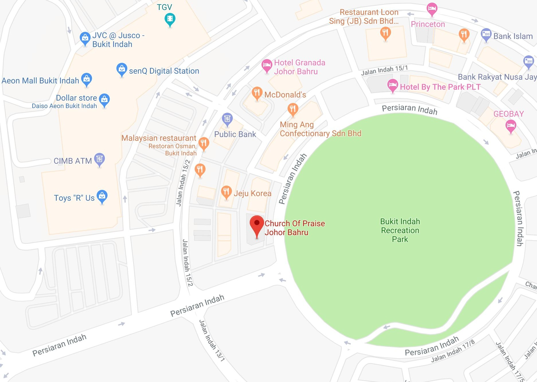 地点 - Church Of Praise Johor Bahru43, Jalan Indah 15/3, Taman Bukit Indah, 81200 Johor Bahru, Johor