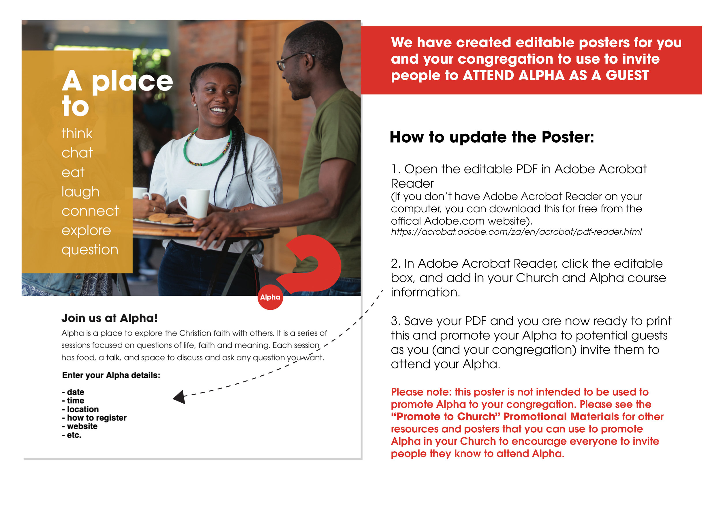 """Easily Editable - We are thrilled to let you know that we have also made these new resources editable. Once you have downloaded the resources that you'd like to use from the Alpha Digital Platform, you can edit these to add in your Alpha course information - then your promotional material will ready to use! We have included """"How-to guides"""" to help you as you customise your resources."""