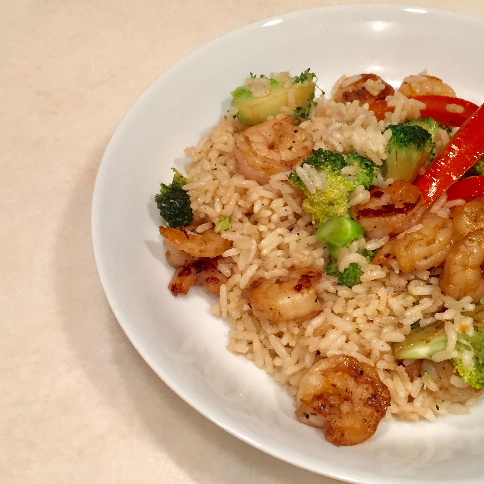 Quick & Easy Week Night Dinner - Shrimp Fried Rice, Dallas Nutritional Counseling #dallasnutritionalcounseling #balancedeating #homecooking #quickrecipes #easyrecipe #weeknightrecipe #carbfatpro #quickeasyrecipe