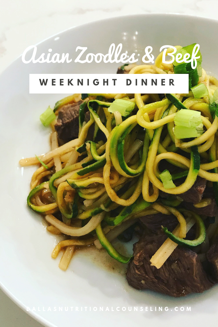 Quick & Easy Week Night Dinner -Asian Zoodles & Beef Casey Bonano RD LD, Dallas Nutritional Counseling #dallasnutritionalcounseling #balancedeating #homecooking #quickrecipes #easyrecipe #weeknightrecipe #carbfatpro #quickeasyrecipe #balancedeating #intuitiveeating