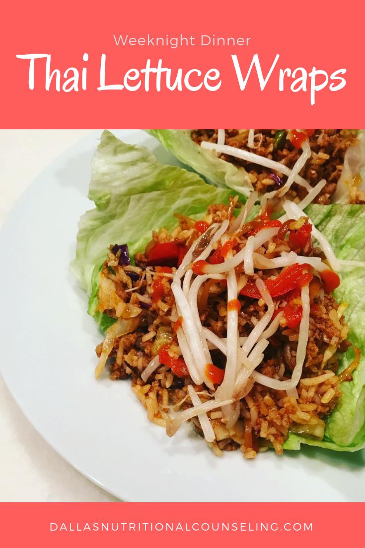 Quick & Easy Week Night Dinner -Thai Lettuce Wraps, Casey Bonano RD LD, Dallas Nutritional Counseling #dallasnutritionalcounseling #balancedeating #homecooking #quickrecipes #easyrecipe #weeknightrecipe #carbfatpro #quickeasyrecipe #balancedeating #intuitiveeating