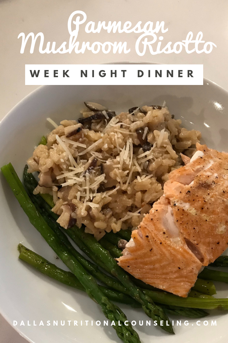 Quick & Easy Week Night Dinner - Parmesan Mushroom Risotto Recipe, Dallas Nutritional Counseling #dallasnutritionalcounseling #balancedeating #homecooking #quickrecipes #easyrecipe #weeknightrecipe #carbfatpro #quickeasyrecipe