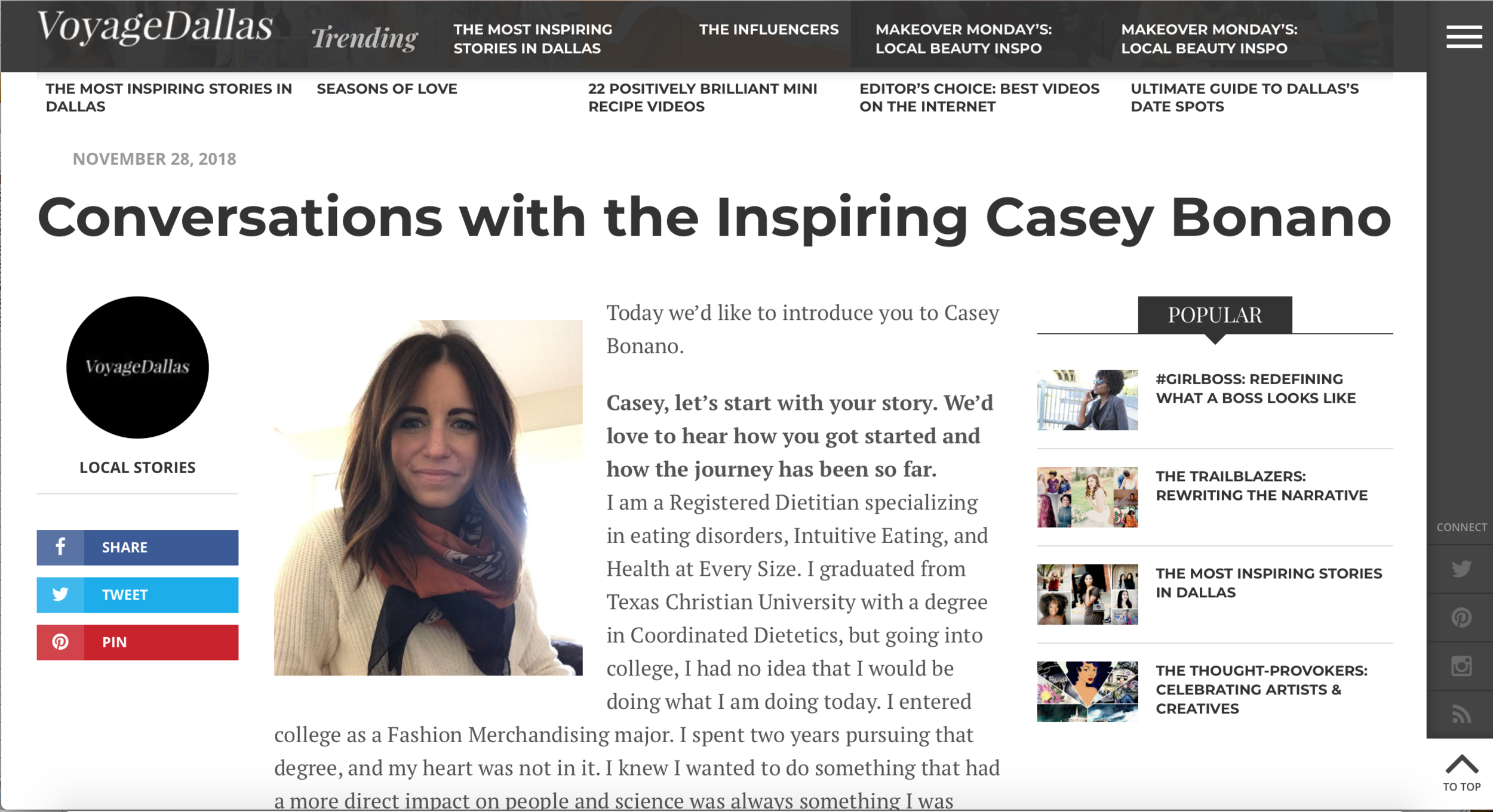 Dallas Nutritional Counseling - Voyage Dallas Magazine Interview Casey Bonano #dallasnutritionalcounseling #voygagemagazine #voyagedallas #dallasfoodblog #dallasfoodie #dallasdietitian #nutritionblog #eatingdisorders
