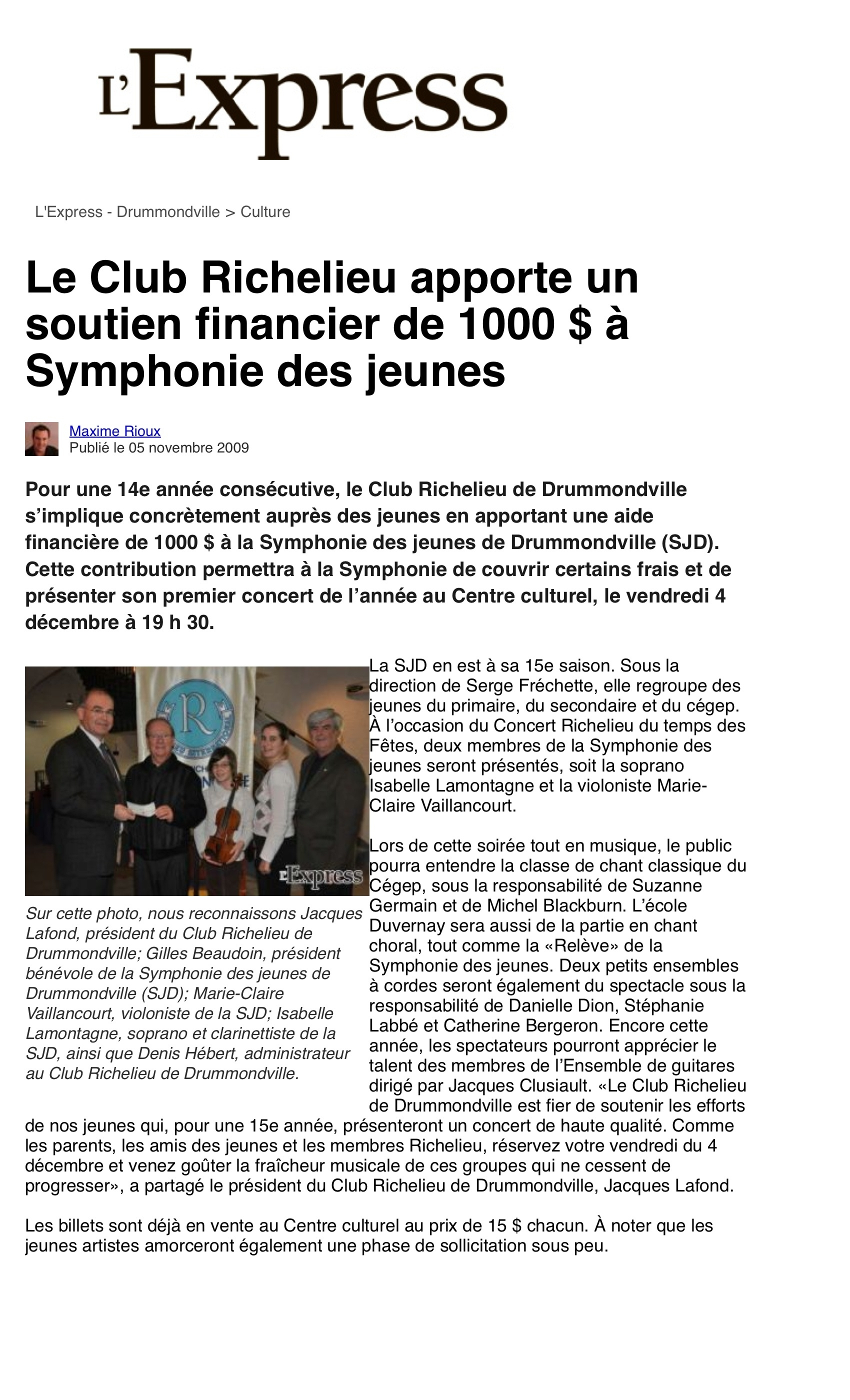 L'Express Drummondville, 5 novembre 2009