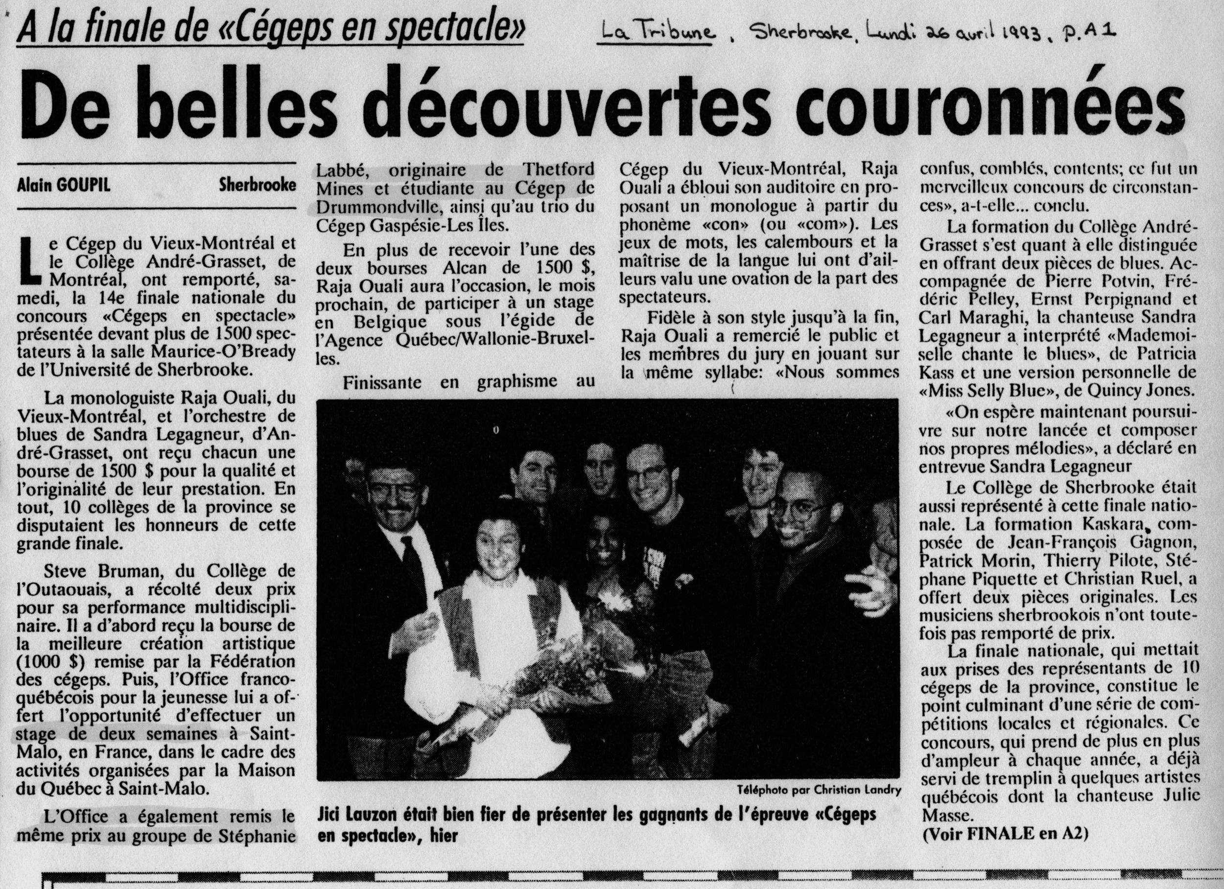 La Tribune, Sherbrooke, 26 avril 1993