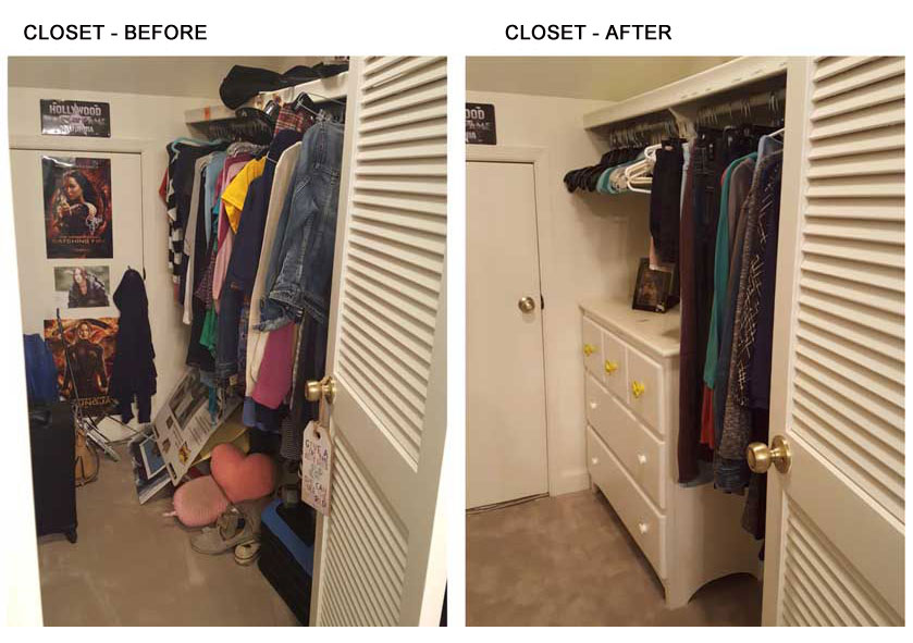Bedroom closet before and after organization
