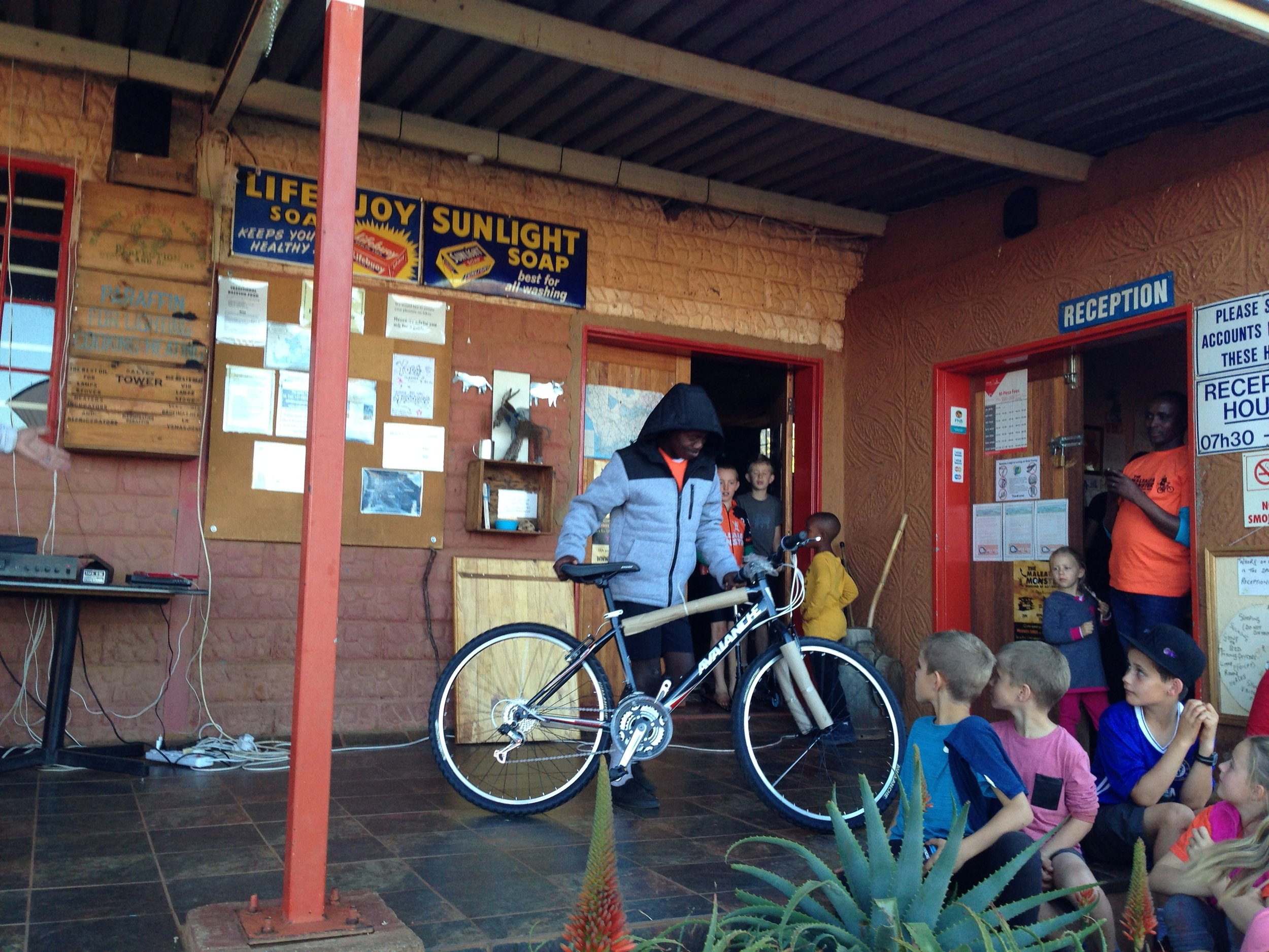 Prize Winner - A Sepheo student receives the prize of a new bike for his outstanding  28km race