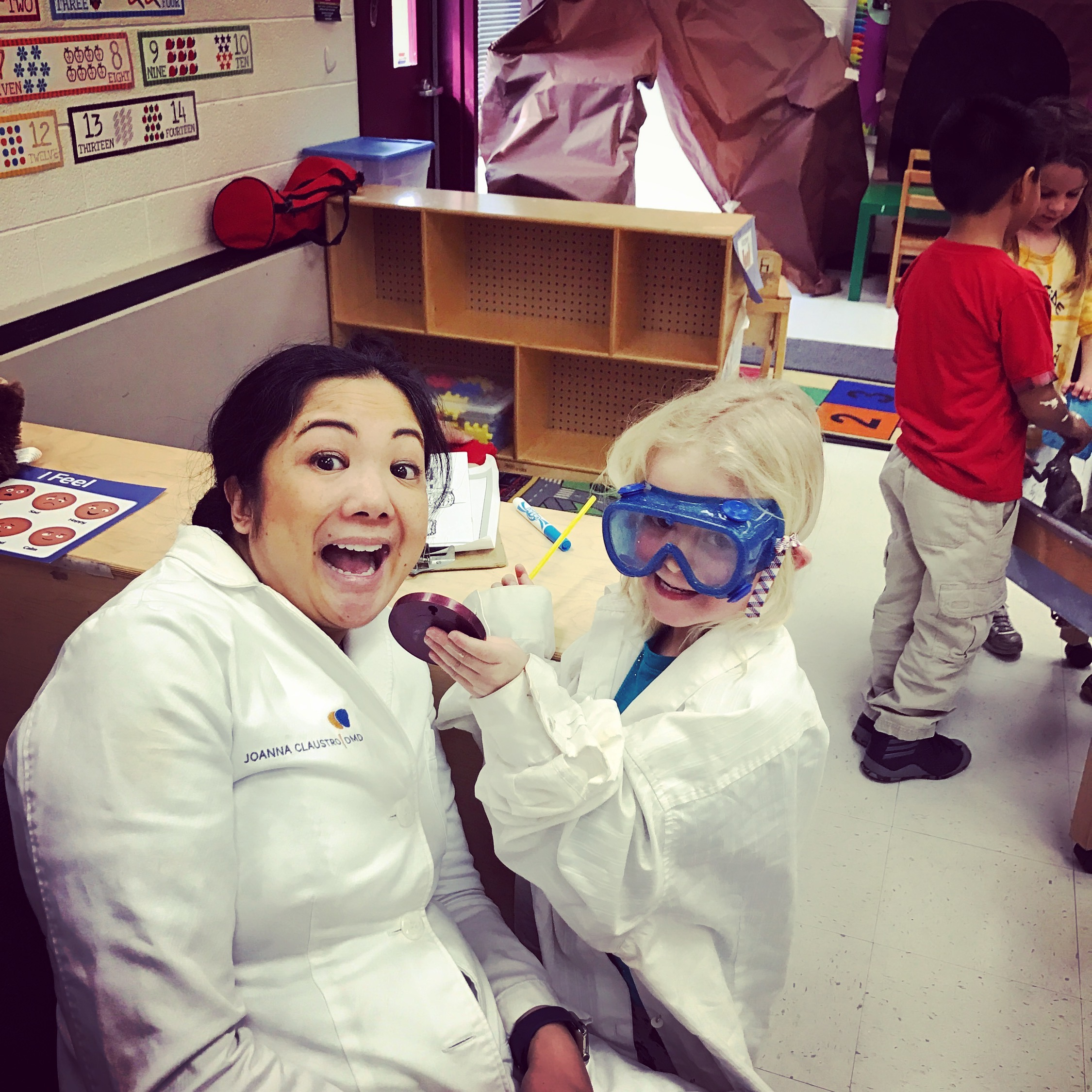 Teaching kids at local classrooms on how to properly care for their teeth... and that dental visits can be fun!