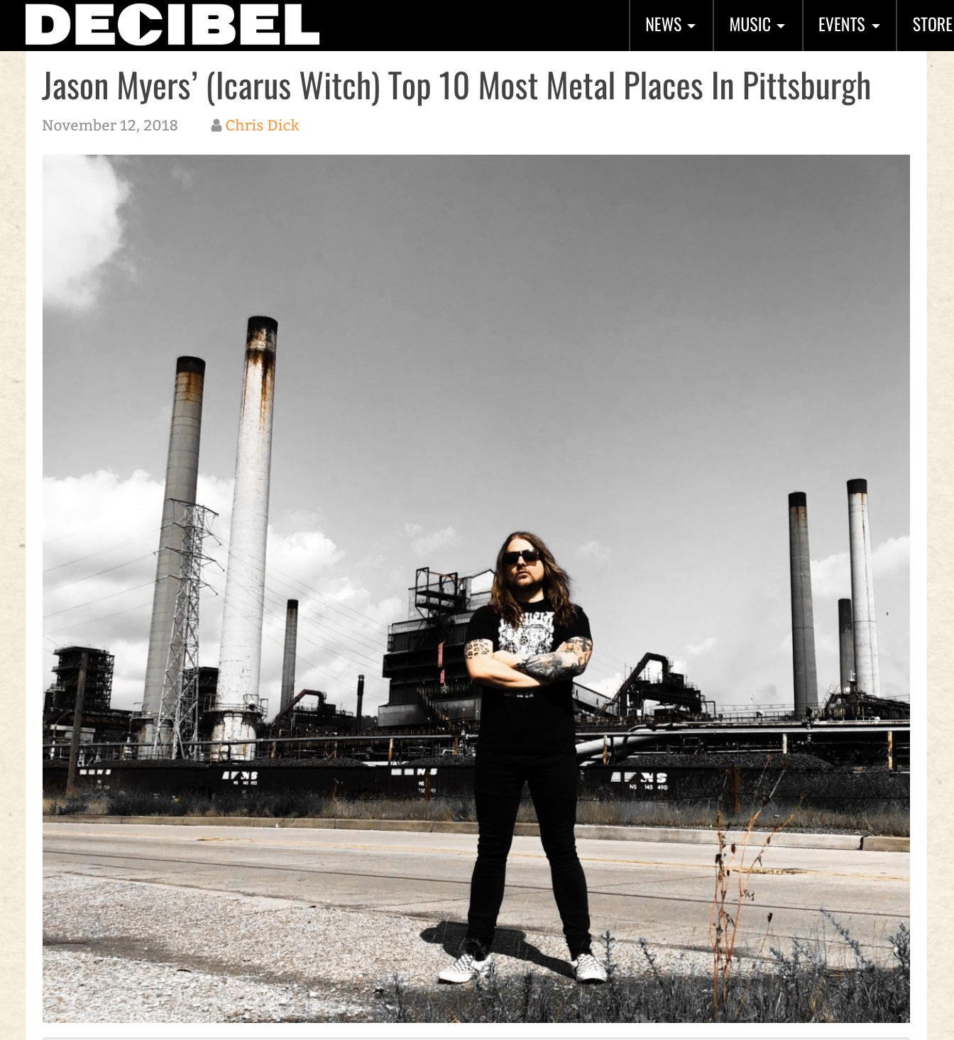 What makes Pittsburgh one of the world's most metal towns? Icarus Witch founder Jason Myers takes  Decibel Magazine 's readers on a behind-the-scenes look at the Iron City.