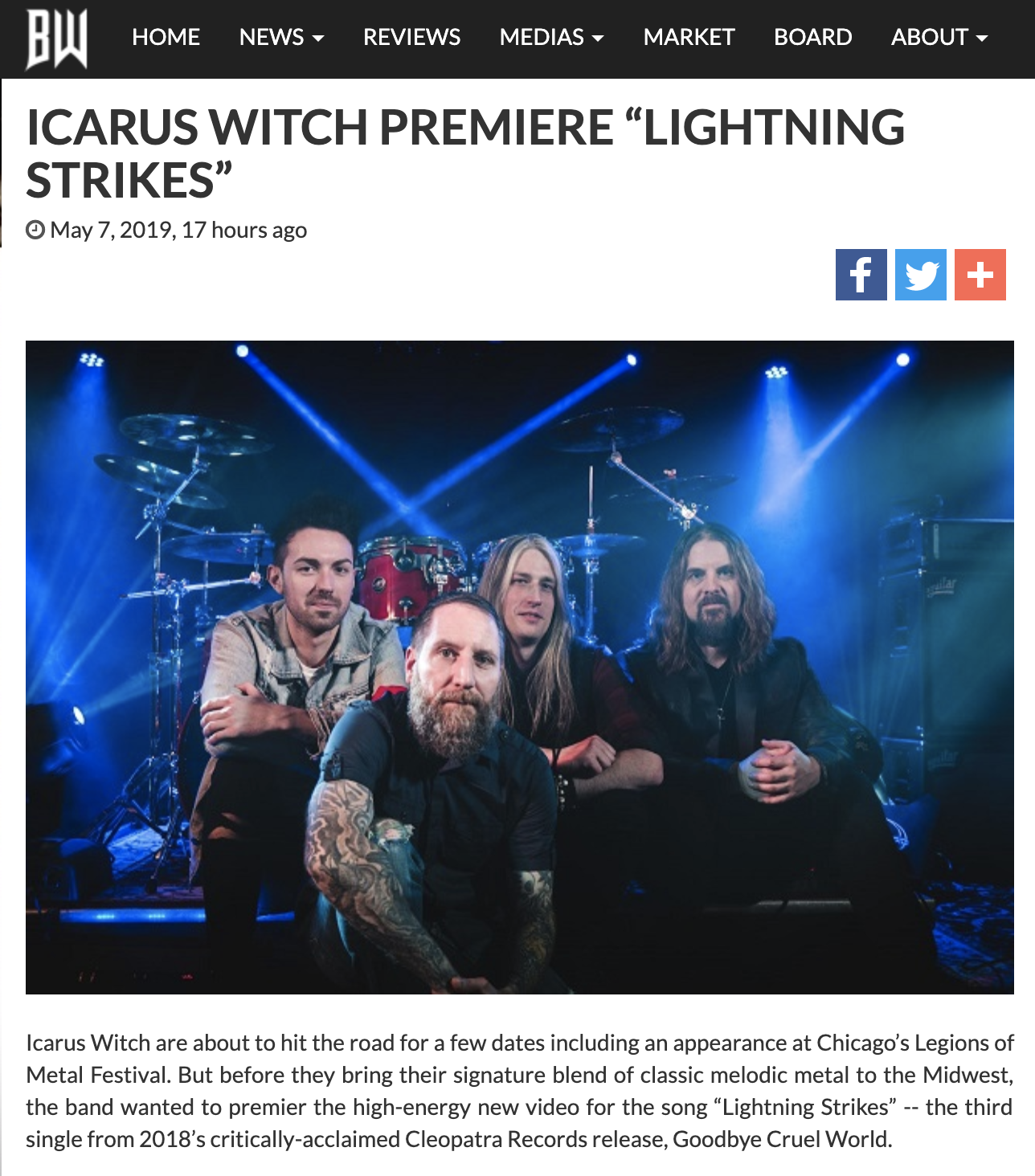 "The new video for ""Lightning Strikes"" is out and BraveWords.com has it first! Click the pic to check it out."