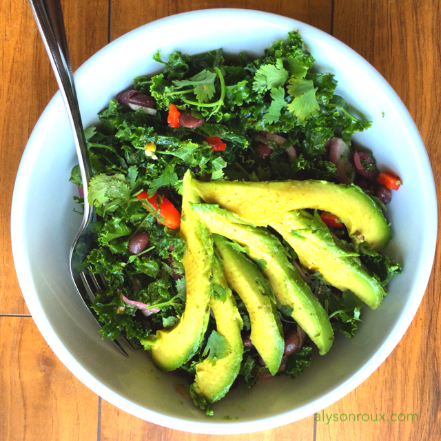 After making a simple kale salad for dinner the night before, the next day add beans and avocado for a satisfying lunch!