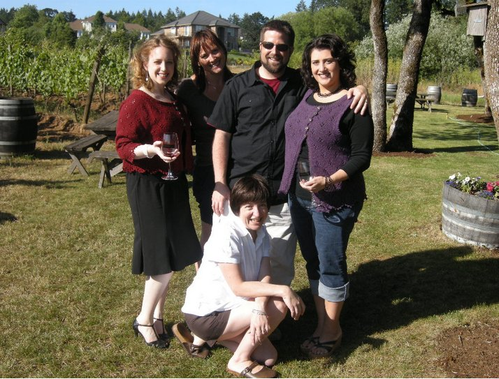 The photo shoot crew, kindly photographed by our actual Sommelier at  Cooper Mountain .  He even stayed late so we could borrow some wine glasses.  Clockwise, from top left:  Model Amy, Photographer Jen, Facilitator and Clown Phillip, Model Kerin, and Me.