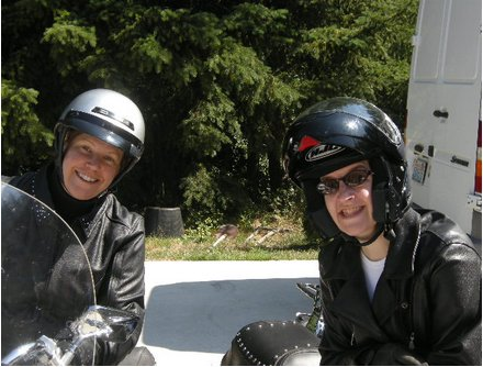 Susie on the left, me on the right: visions of lovliness in helmet hair
