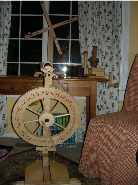 My Lendrum DT wheel, personalized with a favorite verse. The chair is borrowed from the dining room. Really uncomfortable, and slated for replacement. Everything is a work in progress.