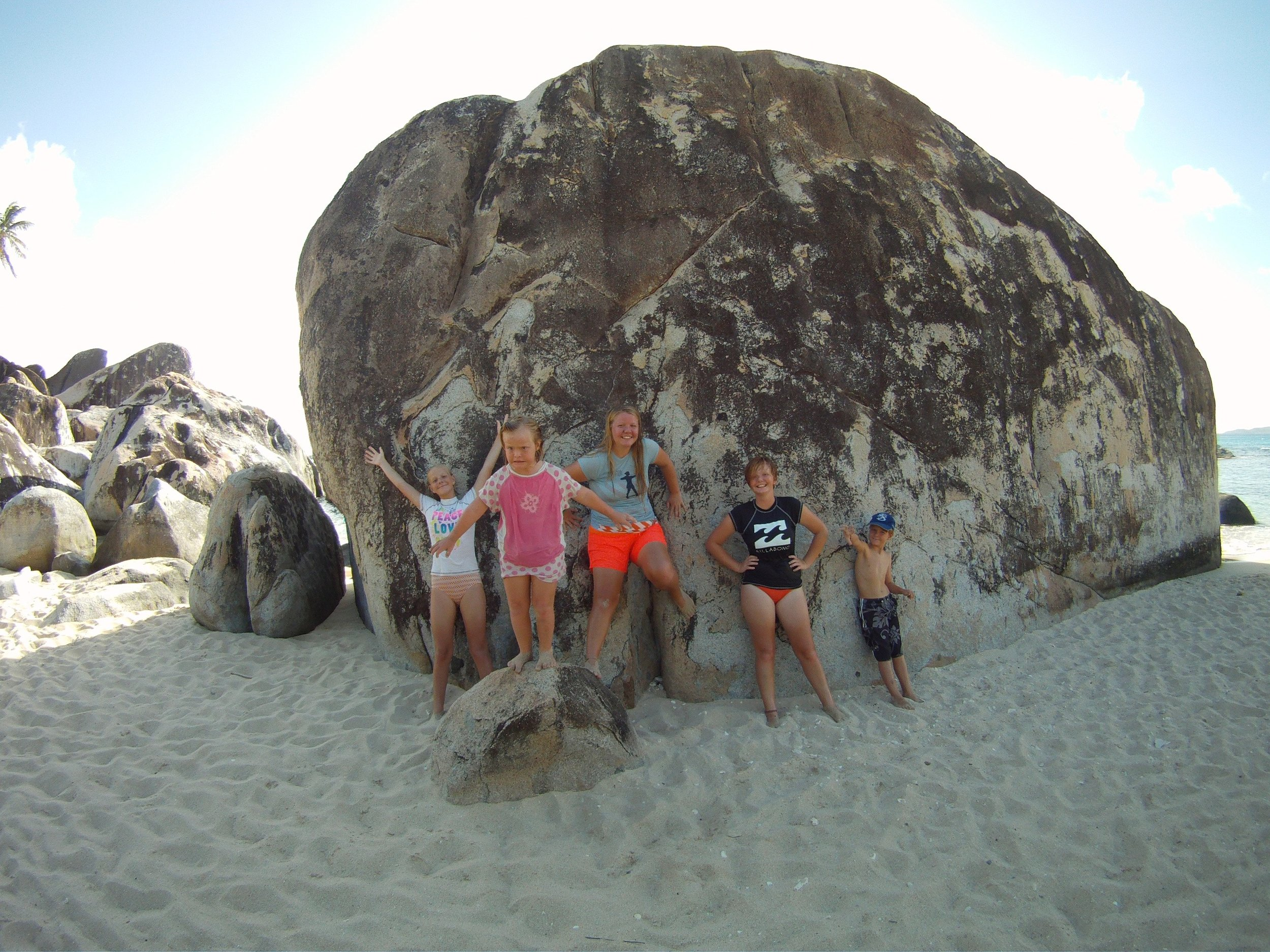The Orton kids in our favorite place:  The BAths , British Virgin Islands.
