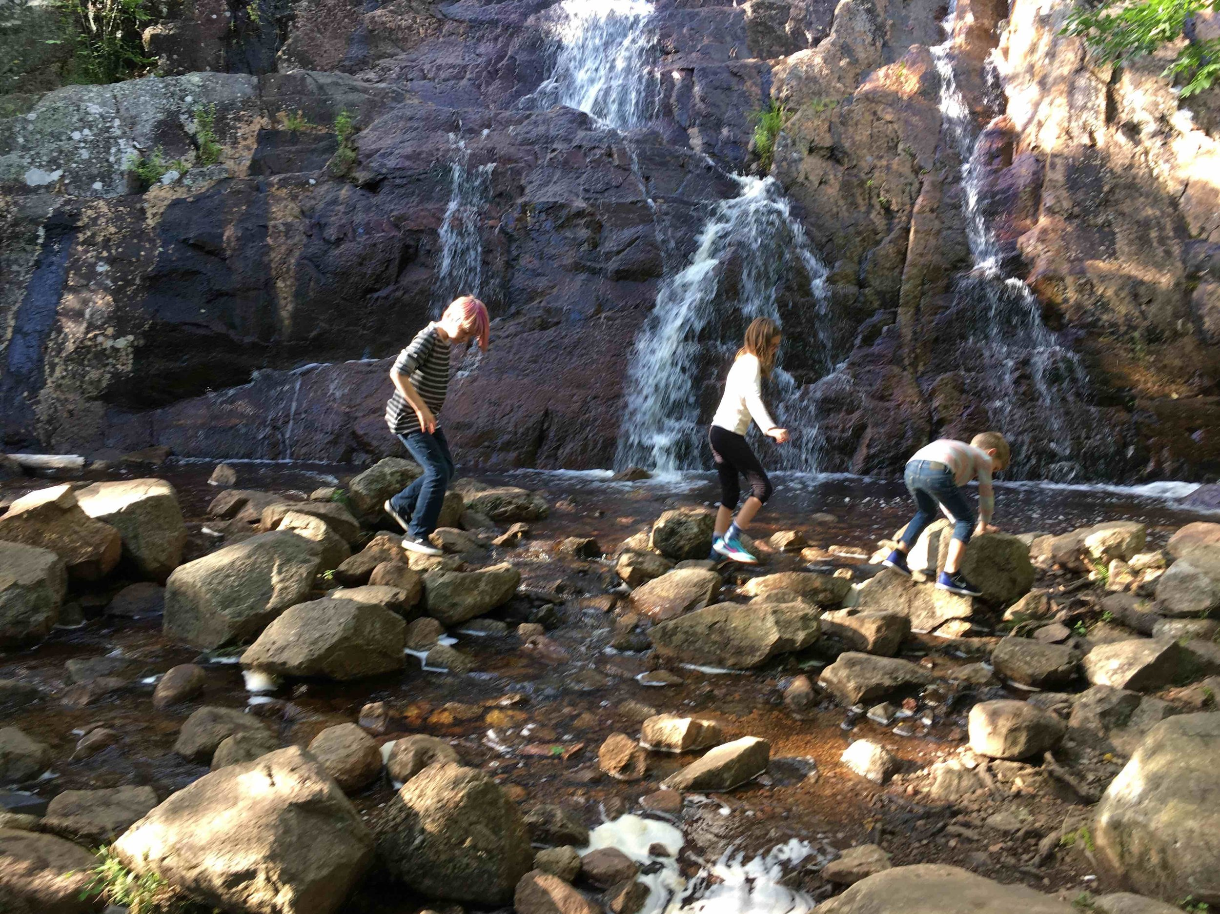 Waterfalls + Friends = not bored in nature