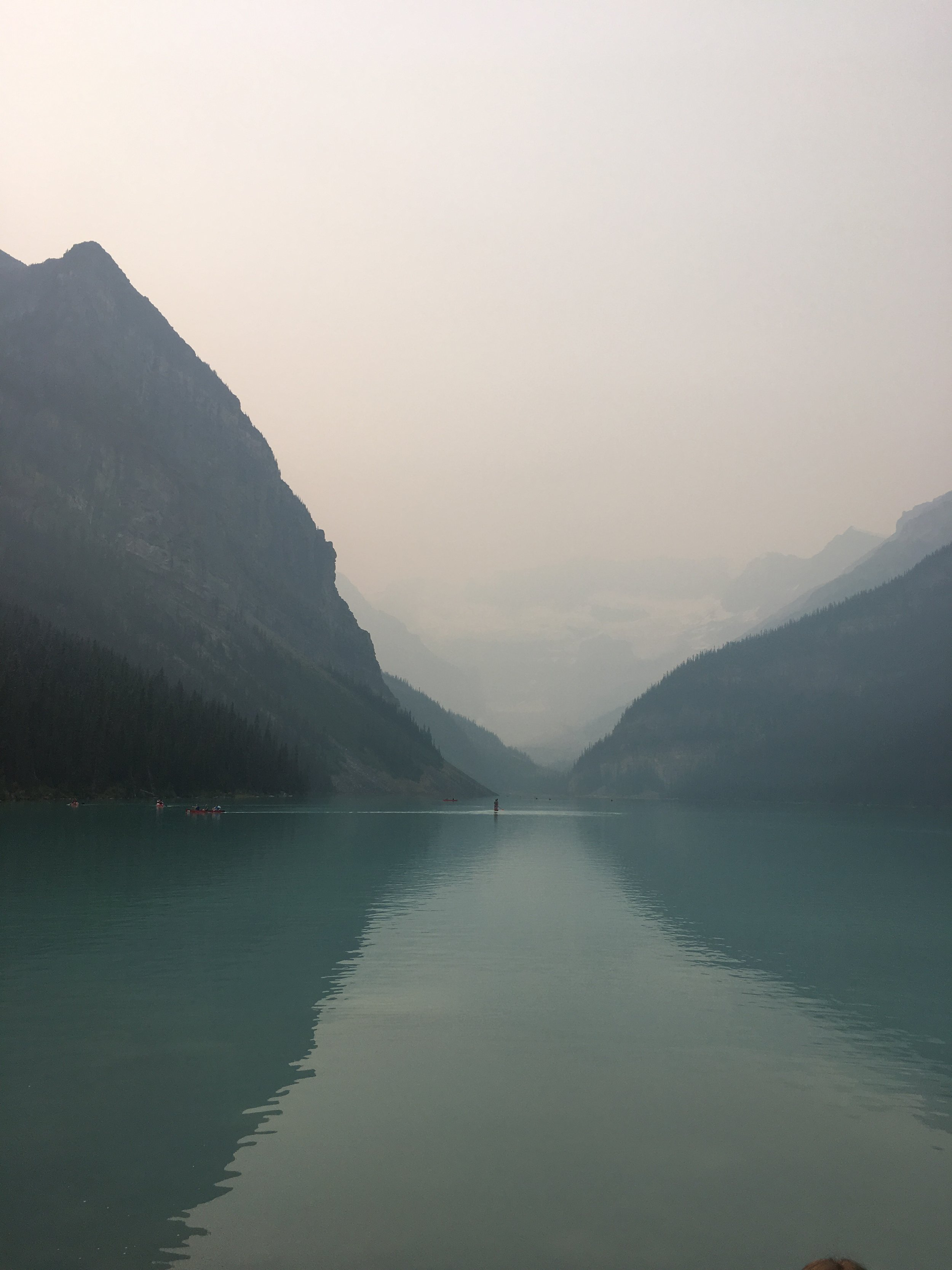 Lake Louise in Banff. The peaks and glacier are obscured by the wildfire smoke.