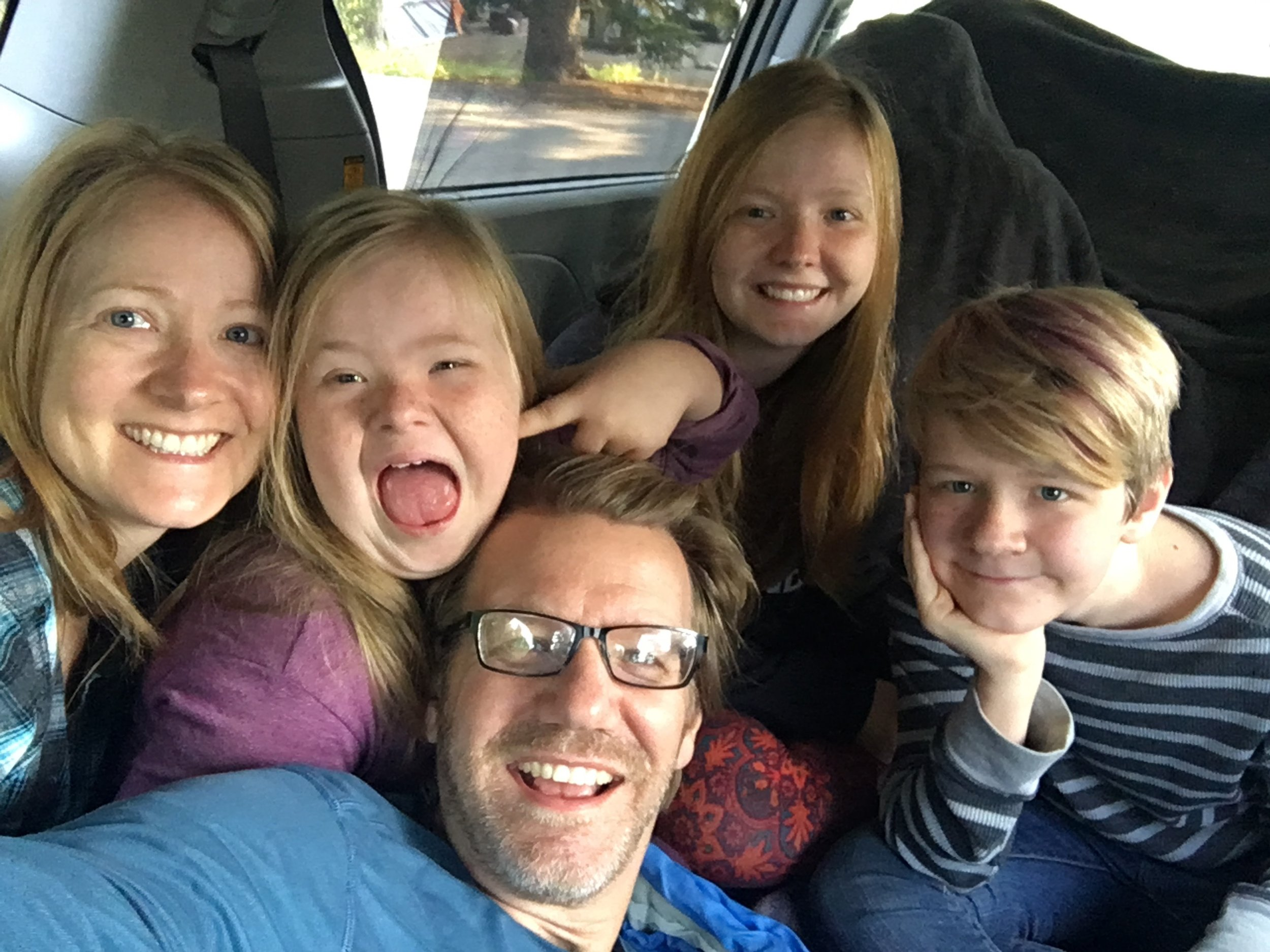Snuggle fest in the van in Banff. Spending time wtih the people who matter most to me.