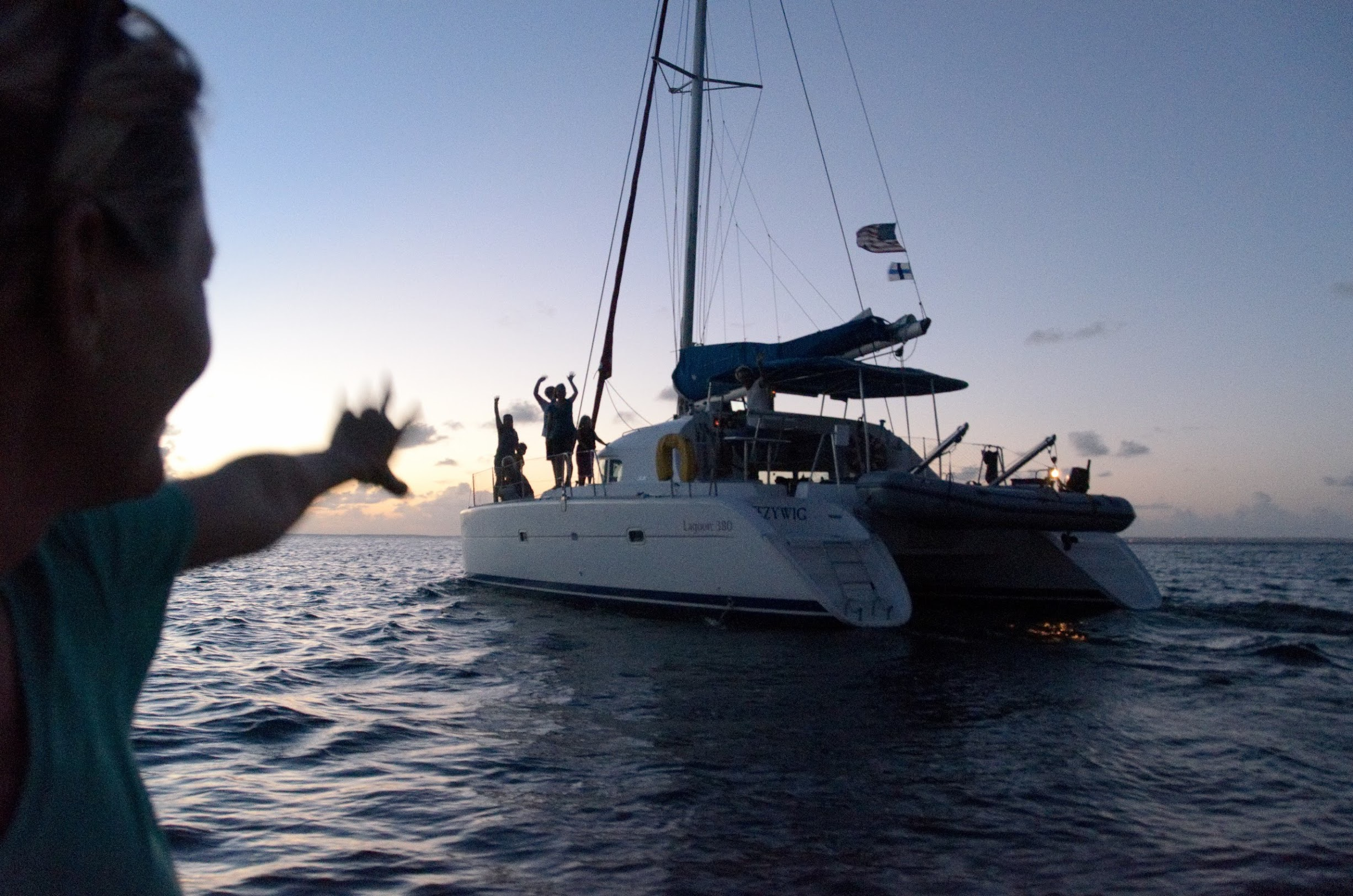 view from the other lens: our friends wishing us well as we leave St. Martin. Photo by John Alonso.