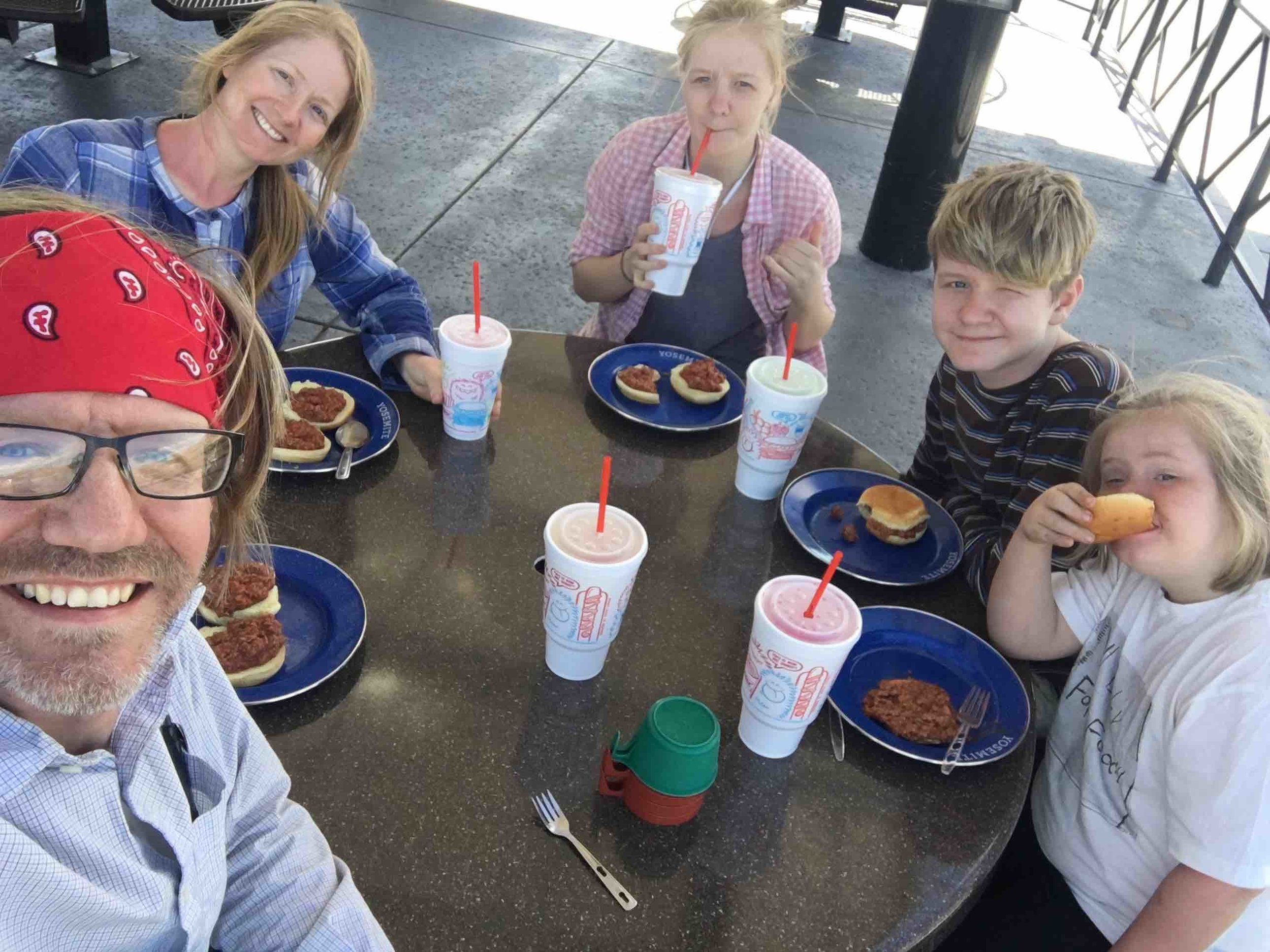 After a couple hot days in the sun, we discovered Sonic's slushy menu. (But we brought our own sloppy Joes : )