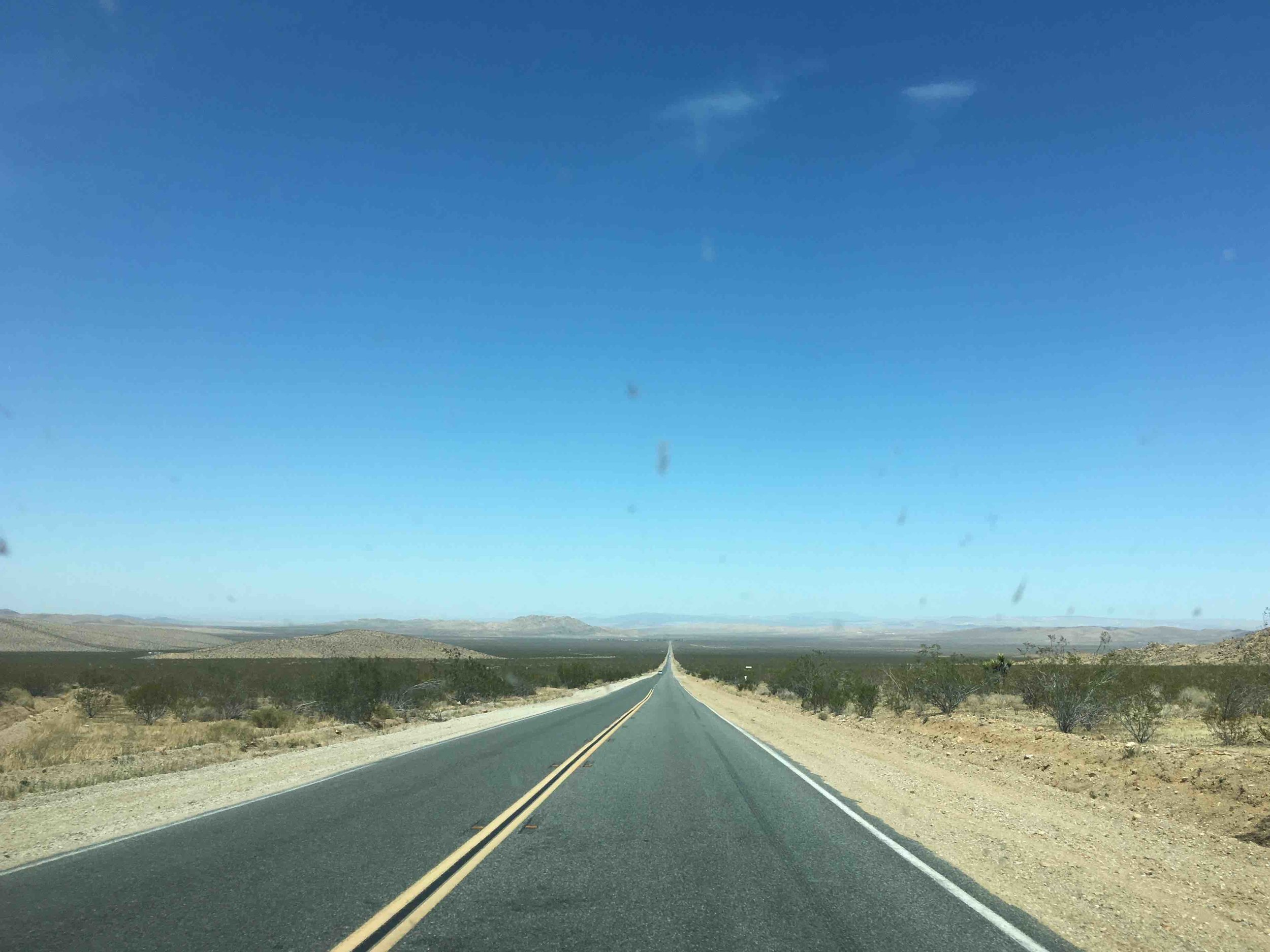 The road from Joshua Tree to Yosemite, as seen through our WINDSHIELD.