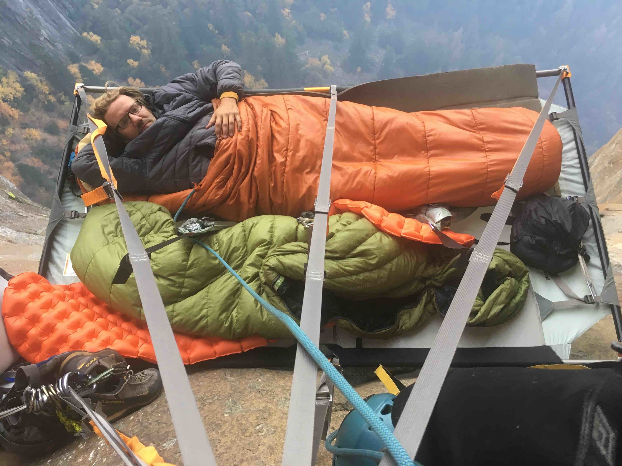 We spent our second bivy in the portaledge. Super comfy.
