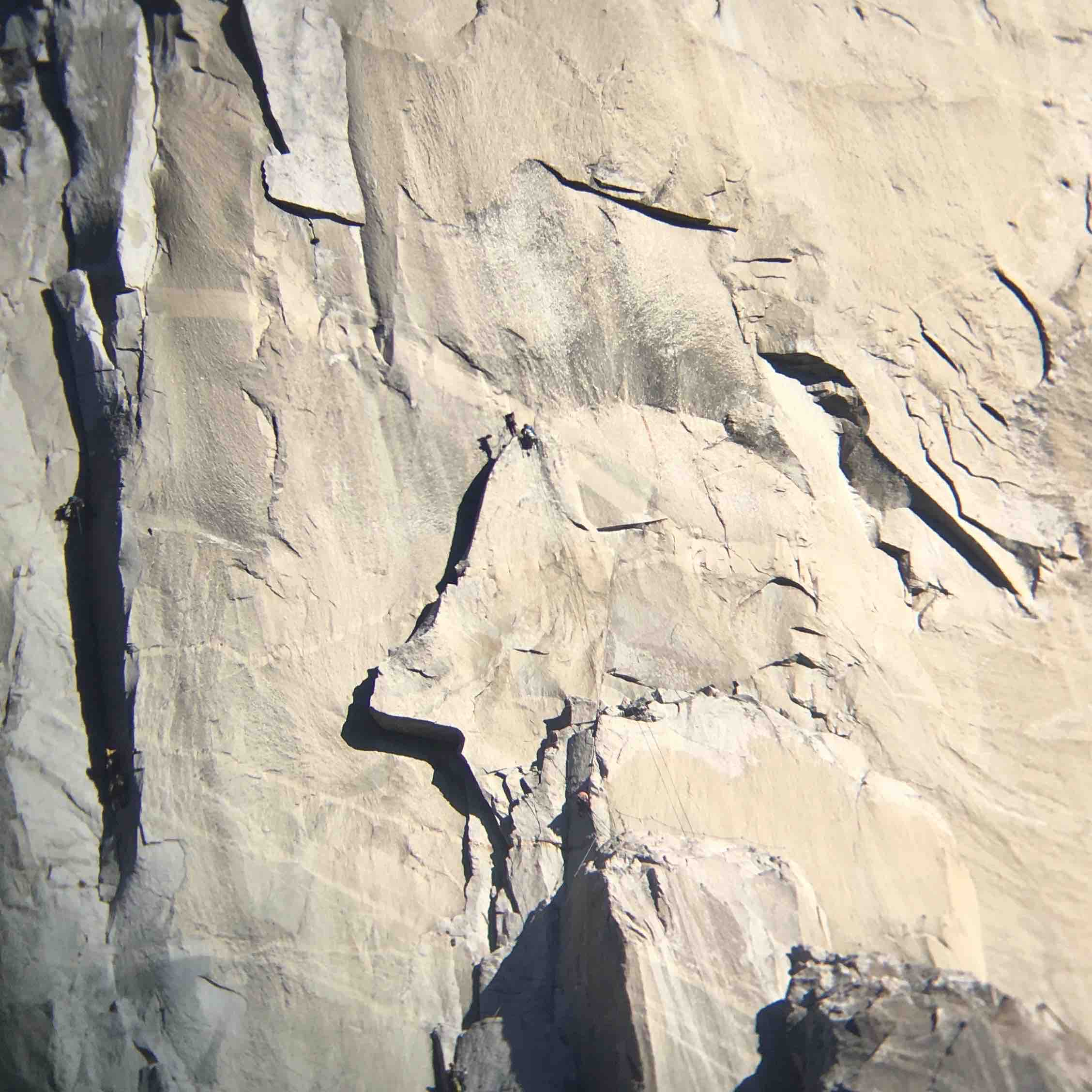 Josh and I on Texas Flake as seen through binoculars from the Valley floor.