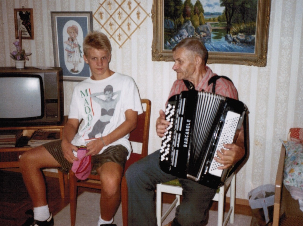 Me with my great-grandfather, Pappa. No wonder I think accordions are cool, and Madonna.