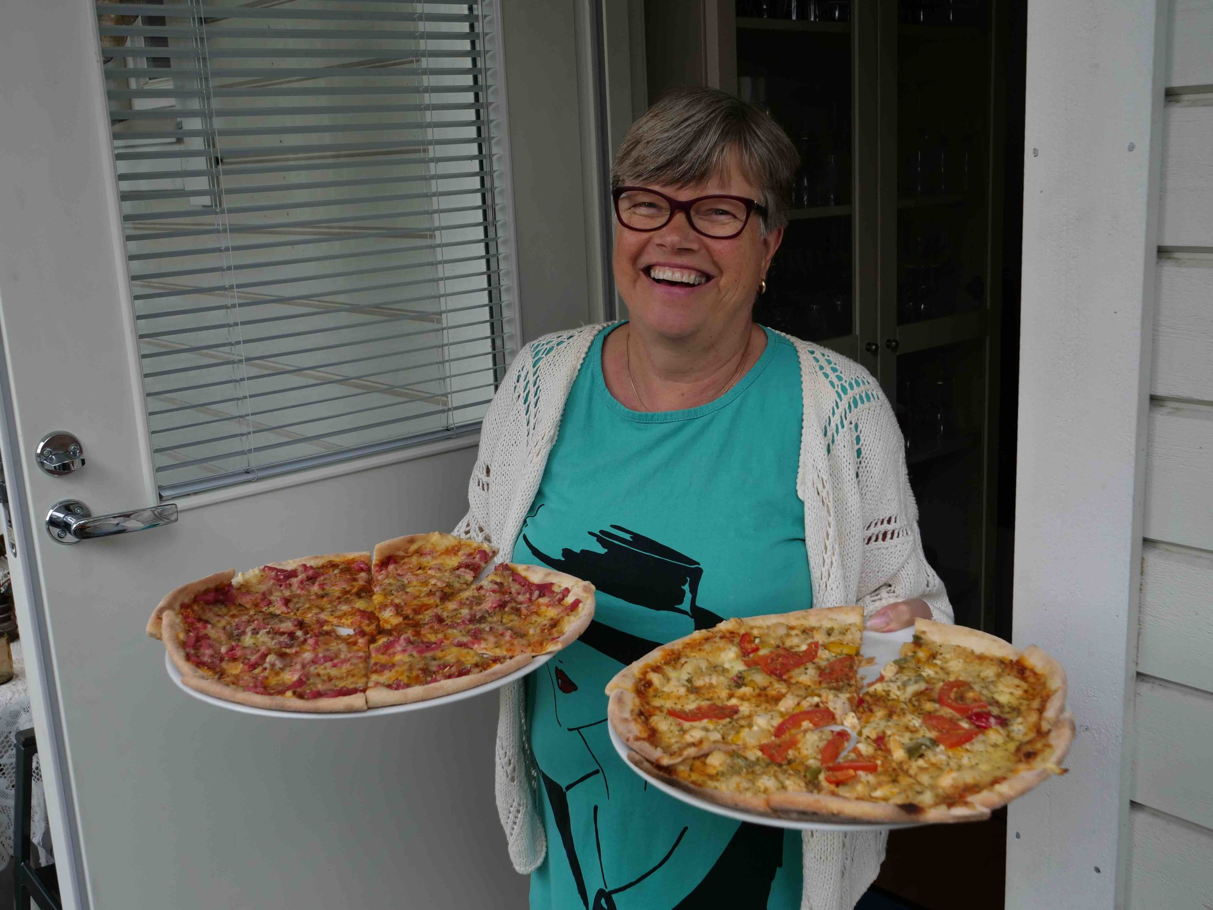 Finnish pizza with my aunt, Tarja.