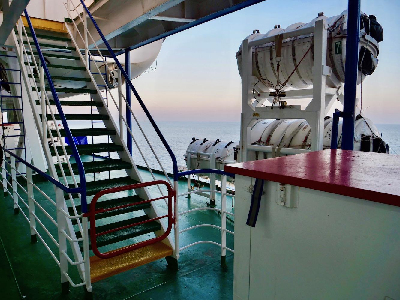 The bright colors of the ferry decks.
