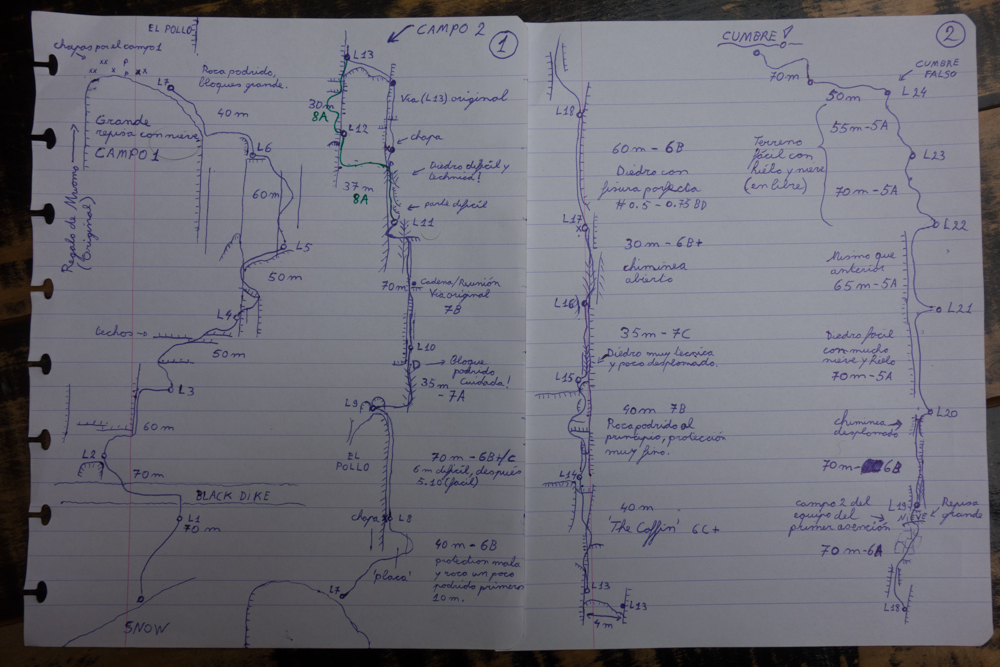 "The hand drawn route for ""El Regalo de Mwono."" Photo courtesy of Nico Favresse, Siebe Vanhee and Sean Villanueva O'Driscoll"