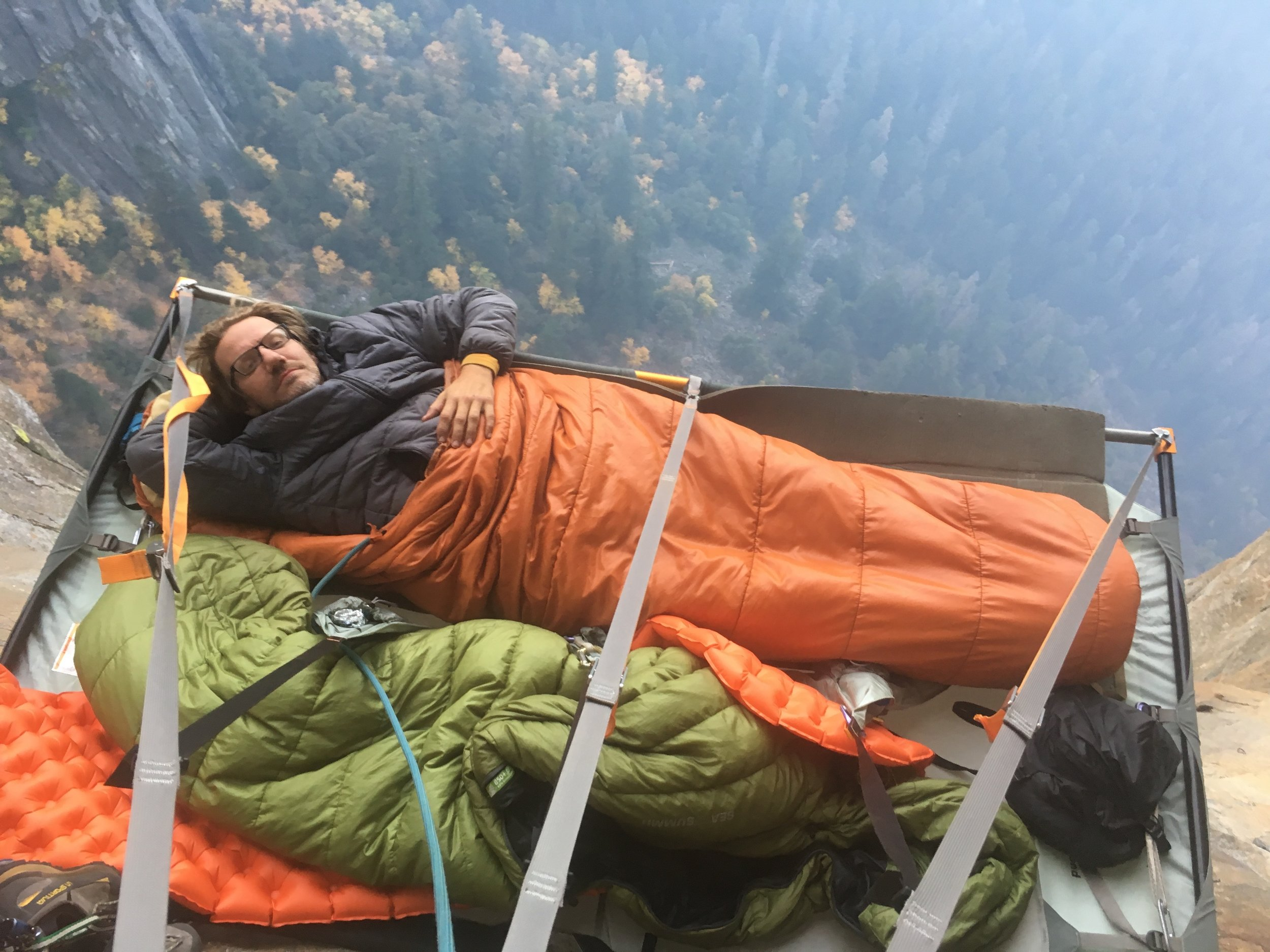 before sleeping on the side of a cliff.