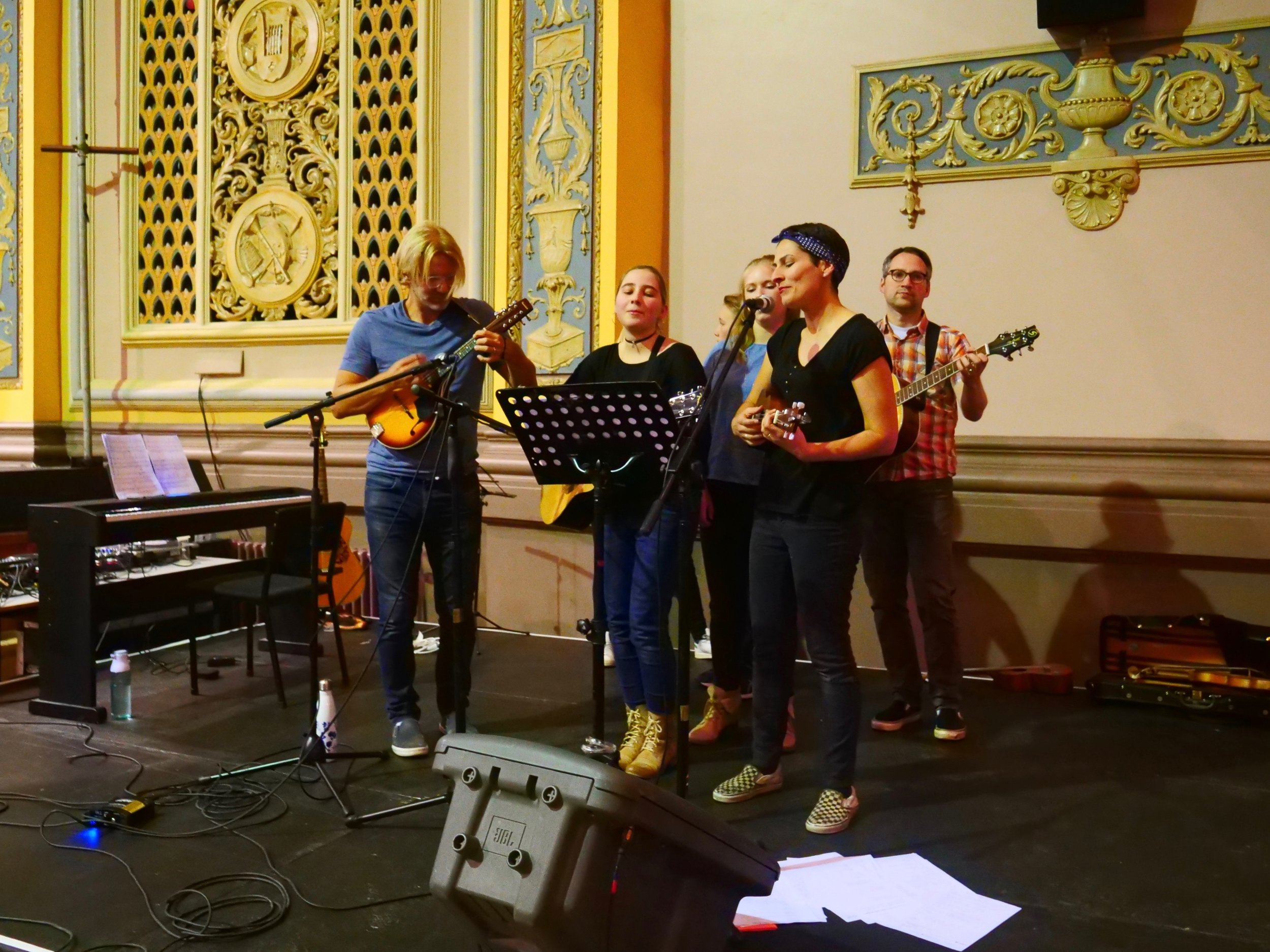Playing at the fundraiser book sale event for the Regent Theatre in downtown Dunedin.