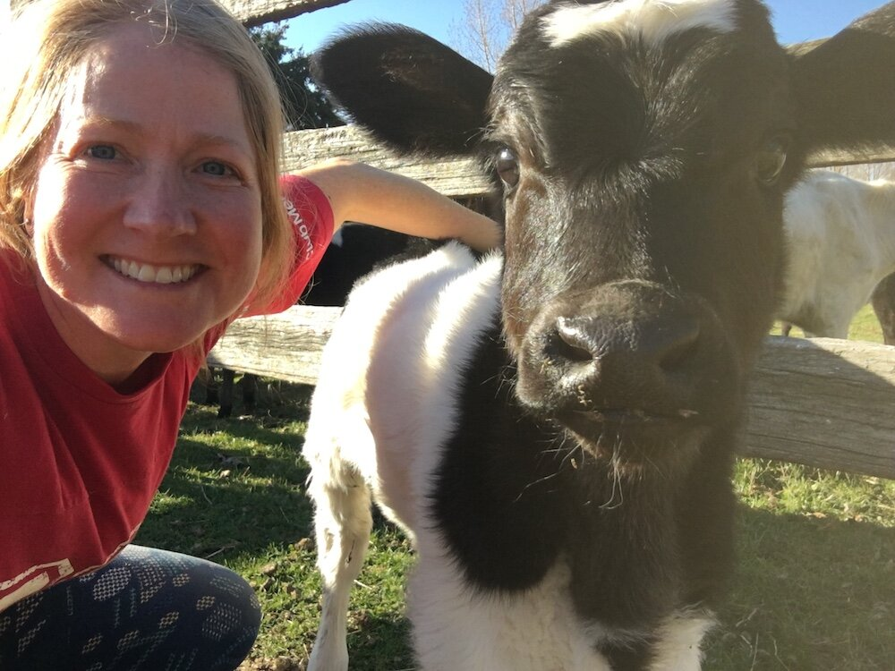 Selfie with Simba—the third calf born on our watch