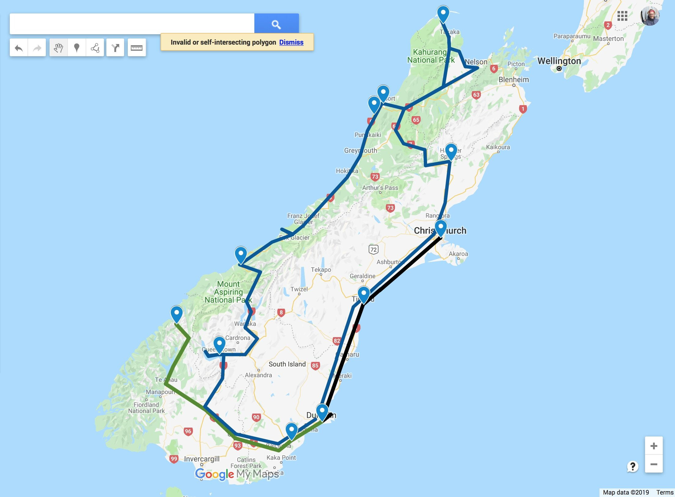 Our route around the South Island of New Zealand.