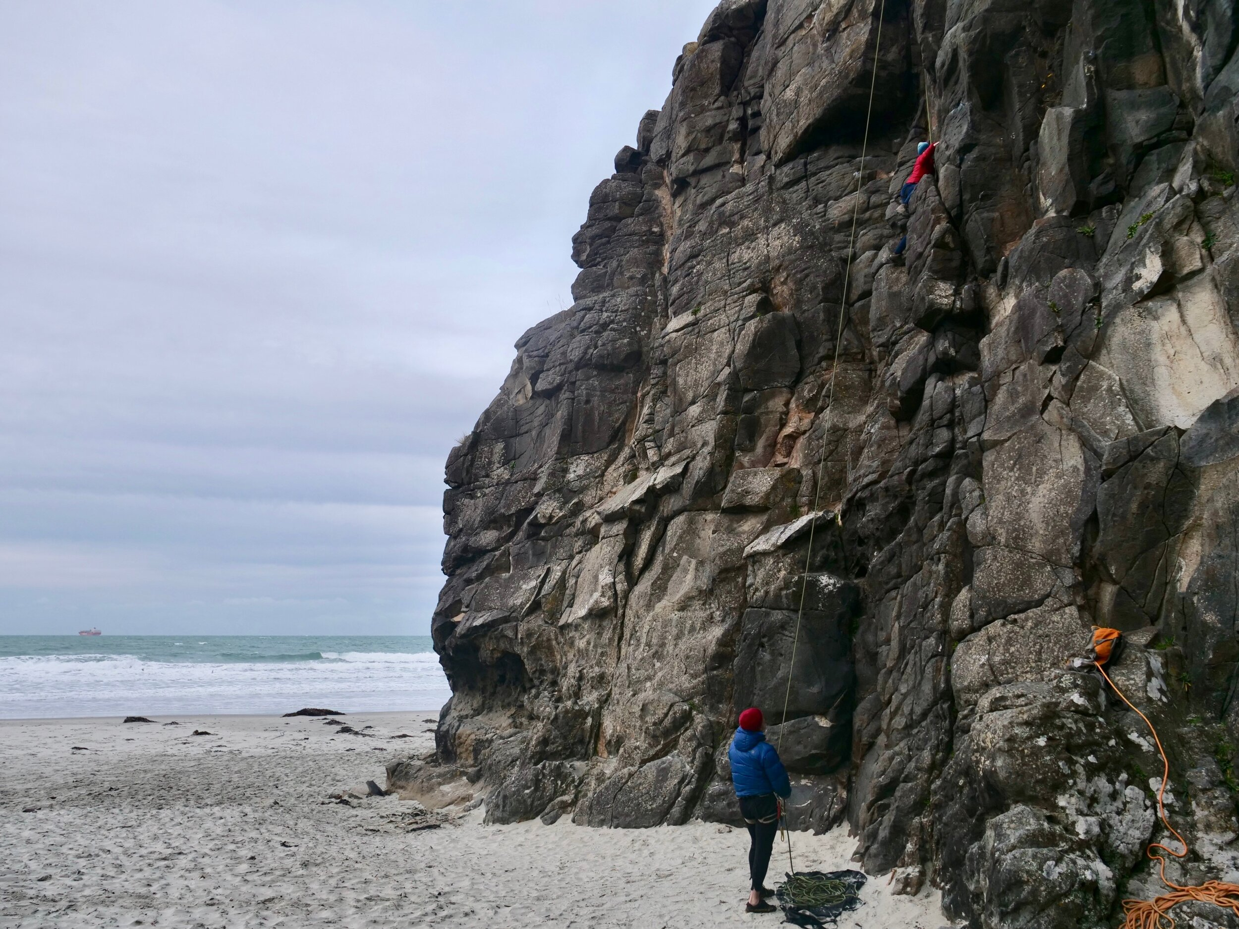Climbing at Aramoana Beach