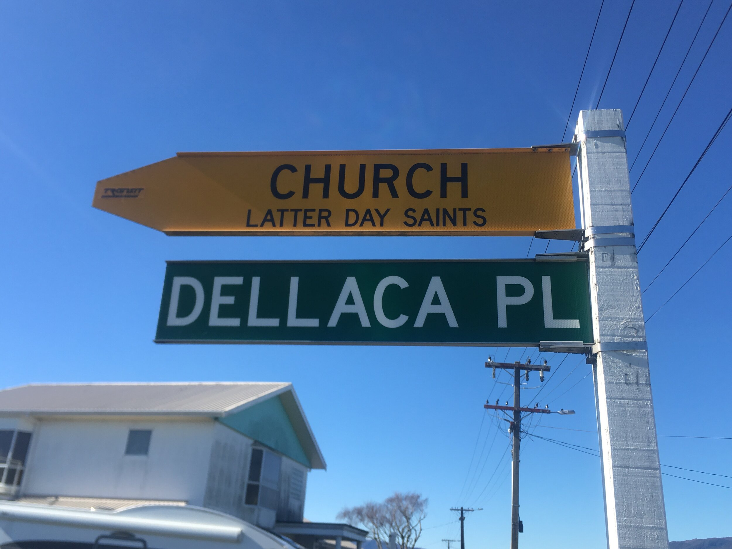I love that all churches get a street sign in NZ