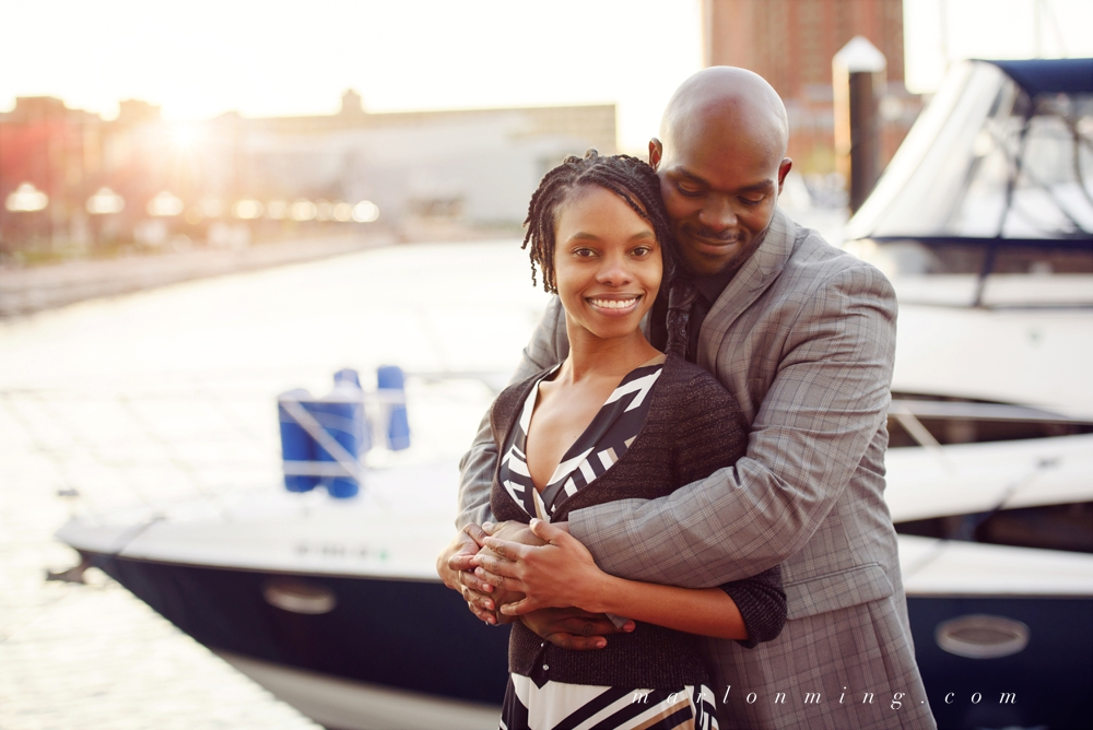 Washington DC Wedding photographer. Inner habor engagement shoot.  Standing couple pose idea.