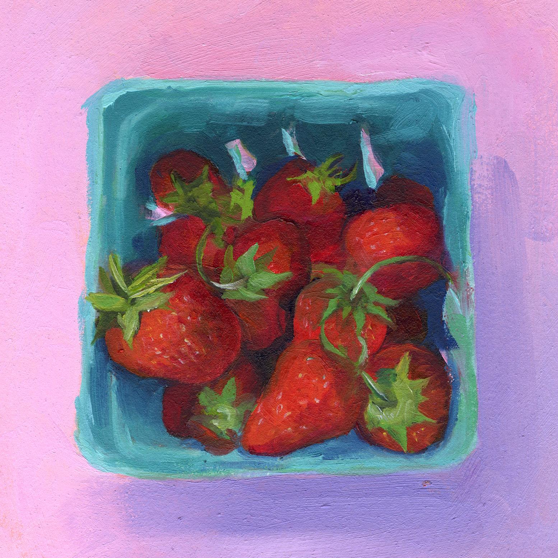 Strawberries on Pink.