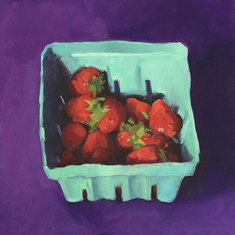 Strawberries on purple.