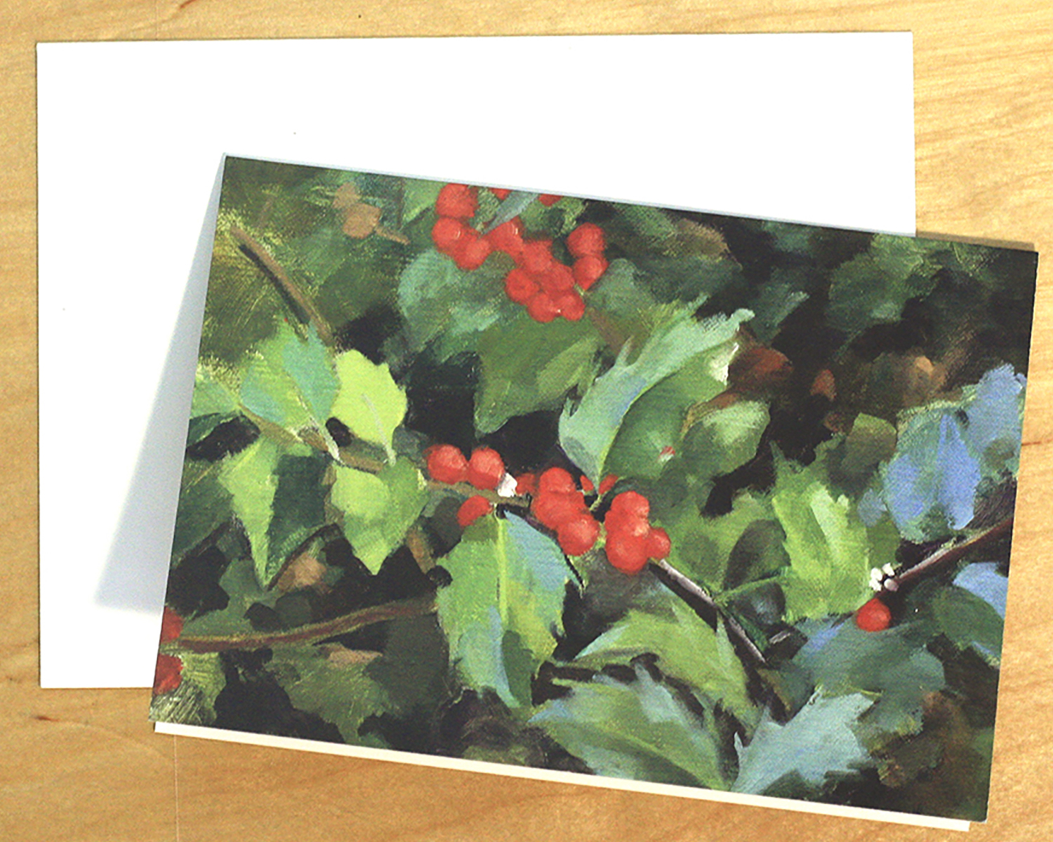 blank notecard-holly with white envelope.jpg