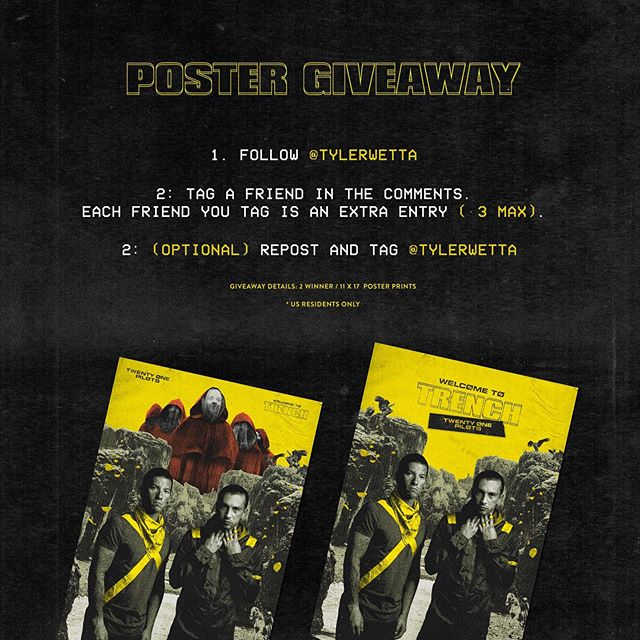 Where are you? It's been awhile. . It's been a minute since I've done a giveaway twenty one pilots related. As a thank you for following my work I wanted to do a giveaway of these 2 limited edition posters. I hid a lot of easter eggs in there. I'll pick the winners on September 22nd.